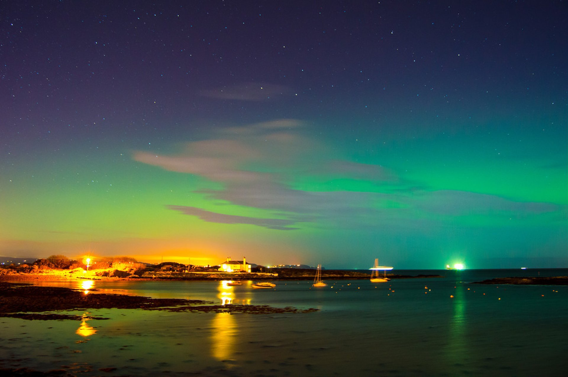 Nothern lights at Groomsport, County Down, Northern Ireland 2020