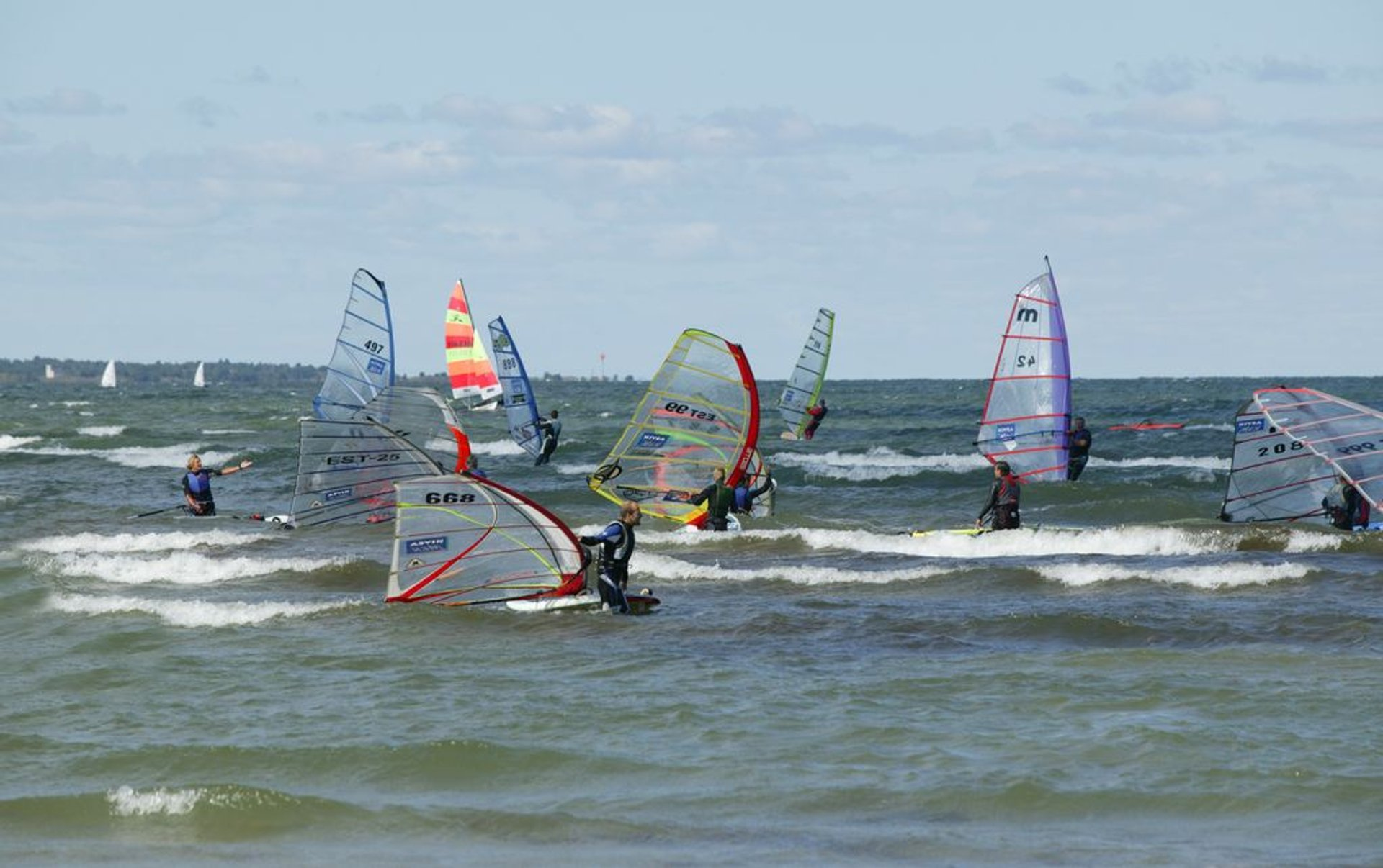 Windsurfers in Pirita beach 2020