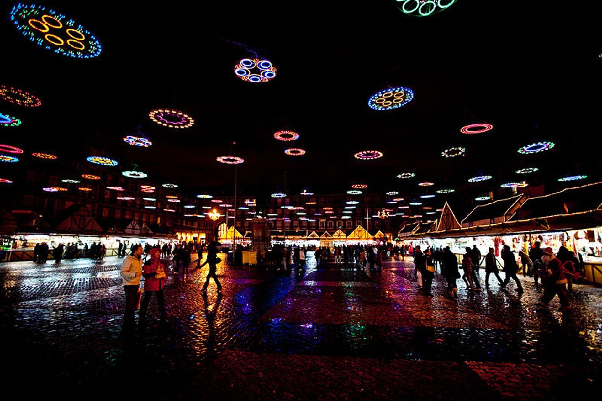 Plaza Mayor Mercado de Navidad at night with Christmas illumination 2020