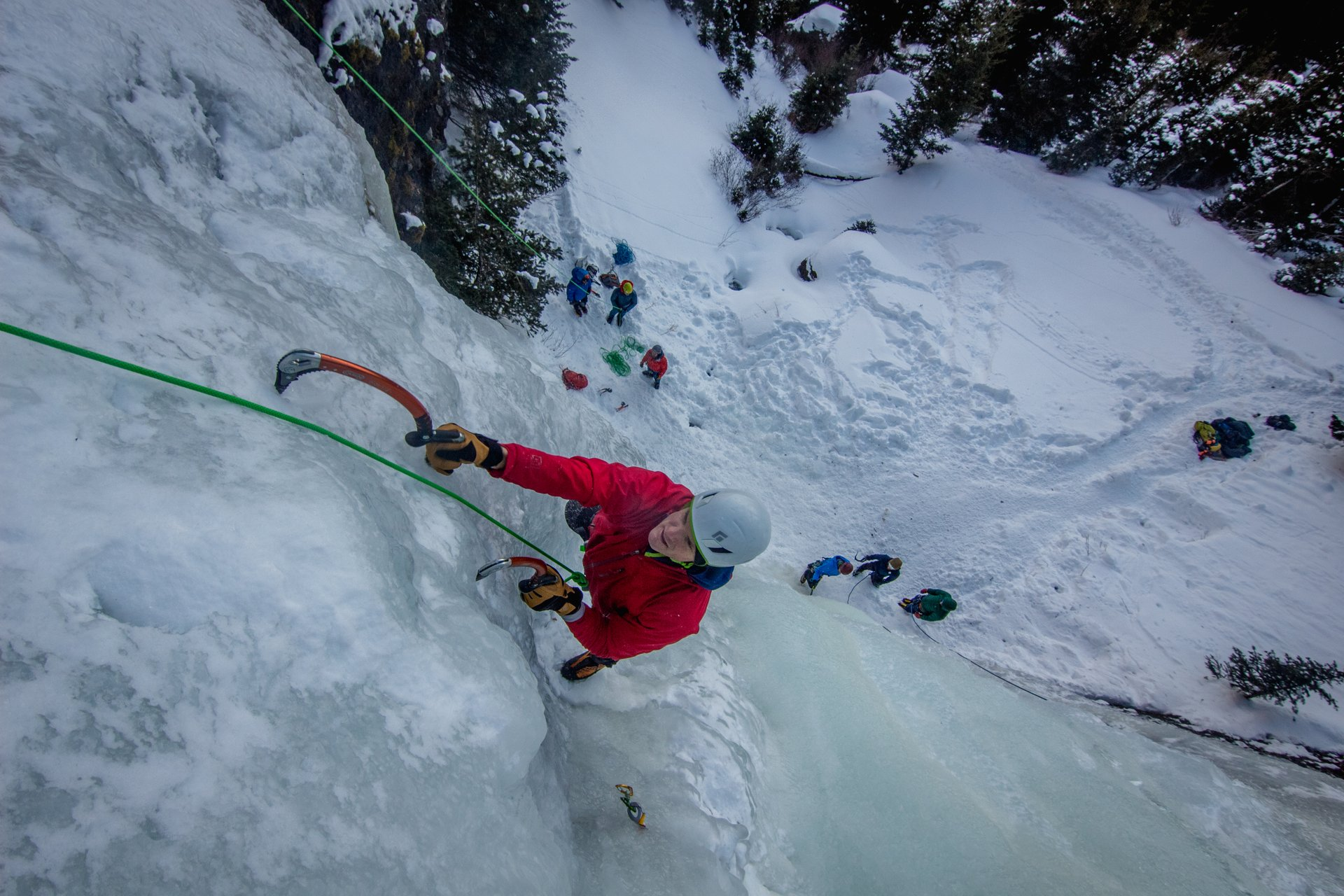 Clinic participant climbing G2 during the Bozeman Ice Fest. 2020