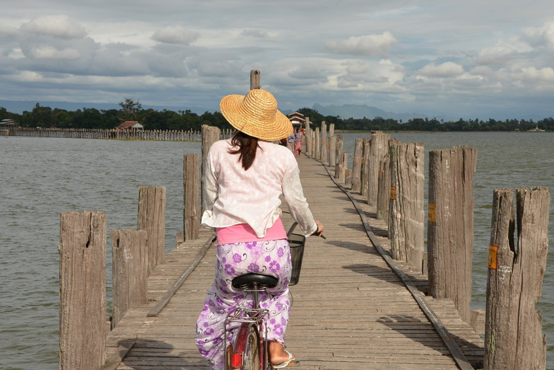 Cycling across the U Bein Bridge 2020