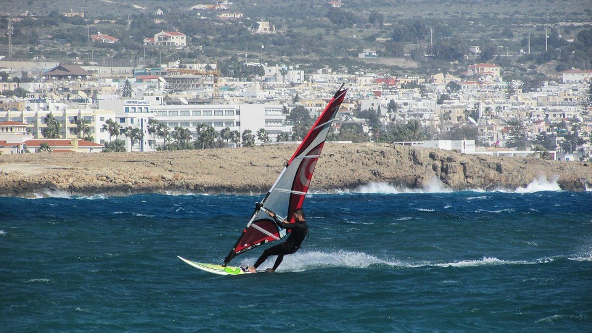 Windsurfing off the coast near Ayia Napa, Cyprus 2020