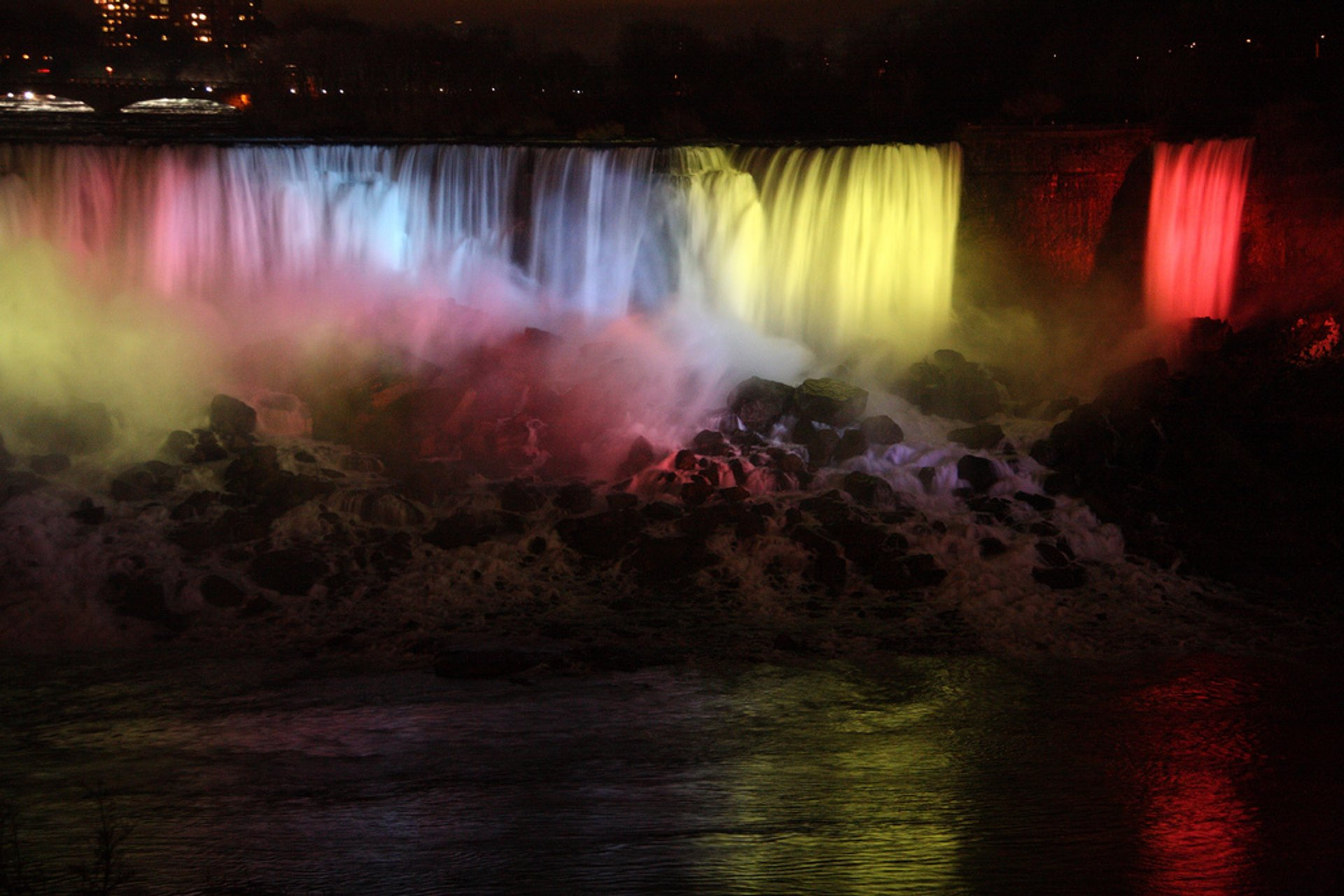 Niagara Falls at night time during the Winter Festival Of Lights 2020