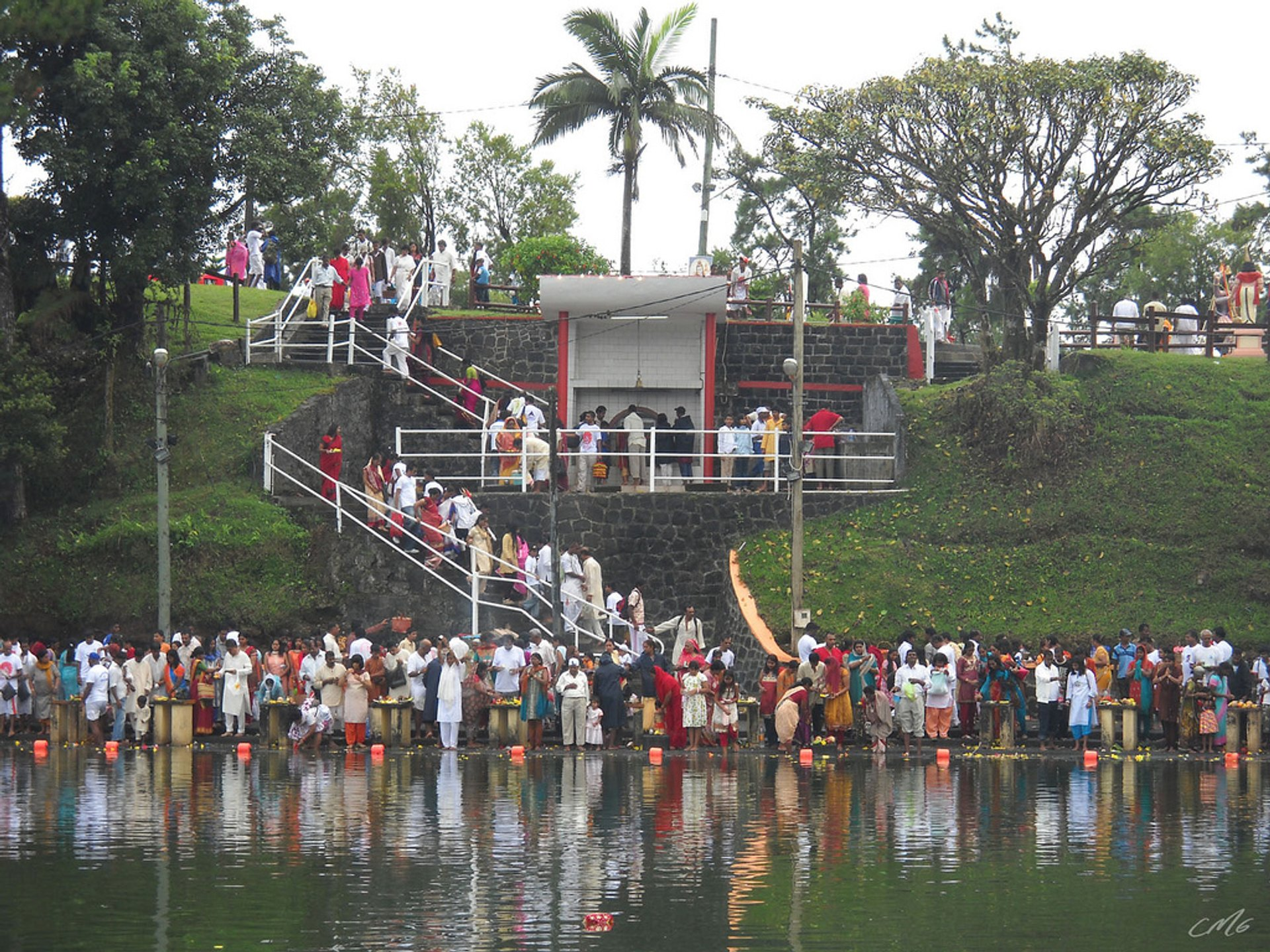 Pilgrims at the Ganga Talao Lake 2020