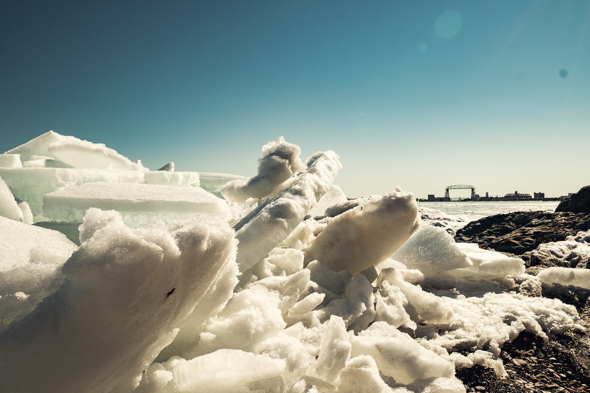 Snow shards on Lake Superior, Duluth, Minnesota, St. Patricks Day 2018 2020