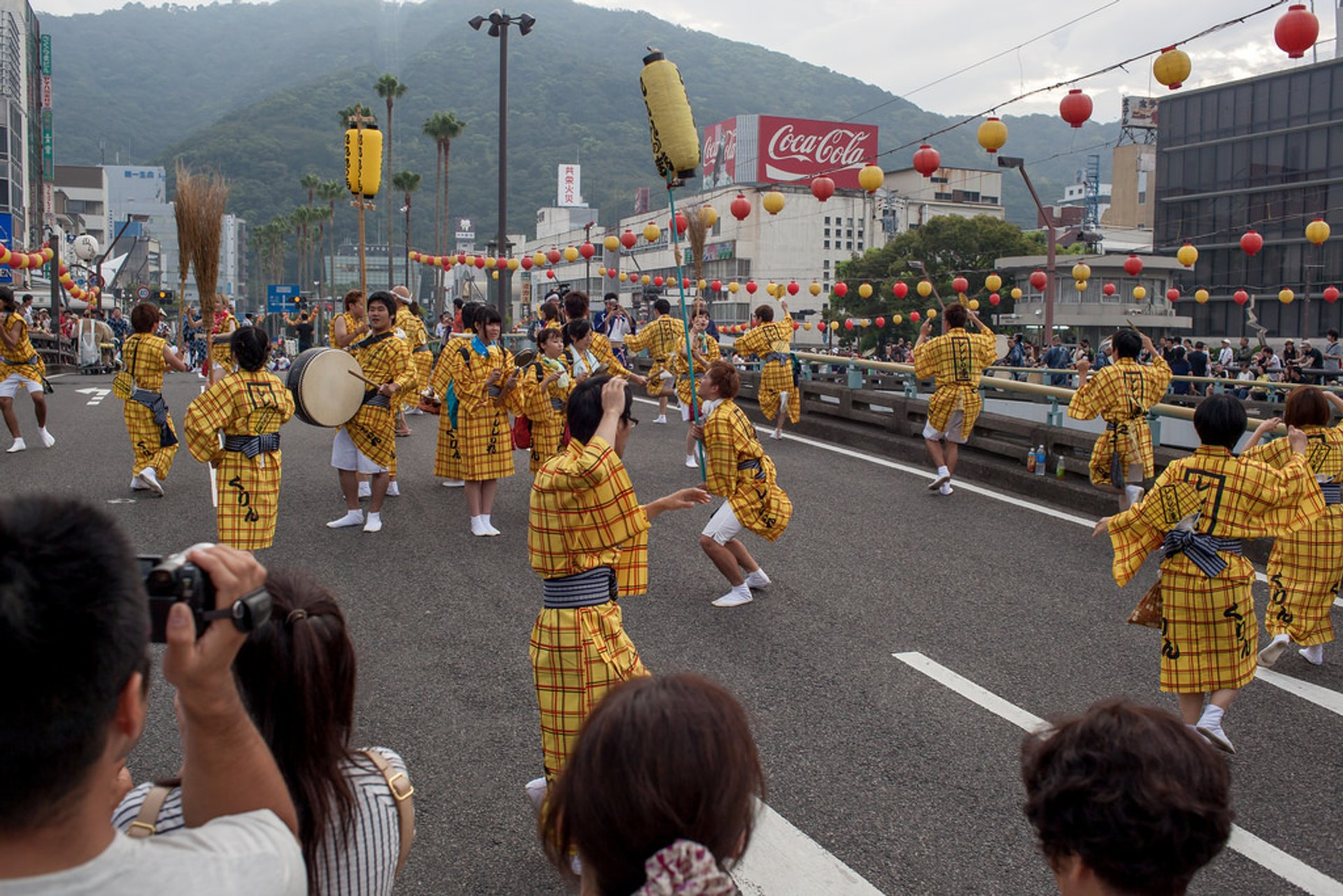 Dancing on the bridge in Tokushima, Awaodori festival performance 2020