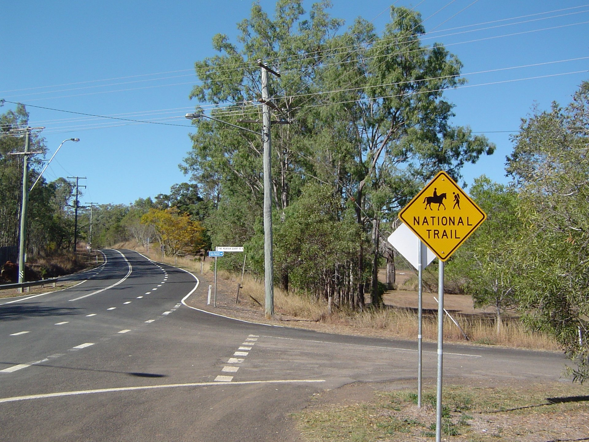 Pine Mountain Road and Bicentennial National Trail at Pine Mountain, City of Ipswich, Queensland, Australia 2019