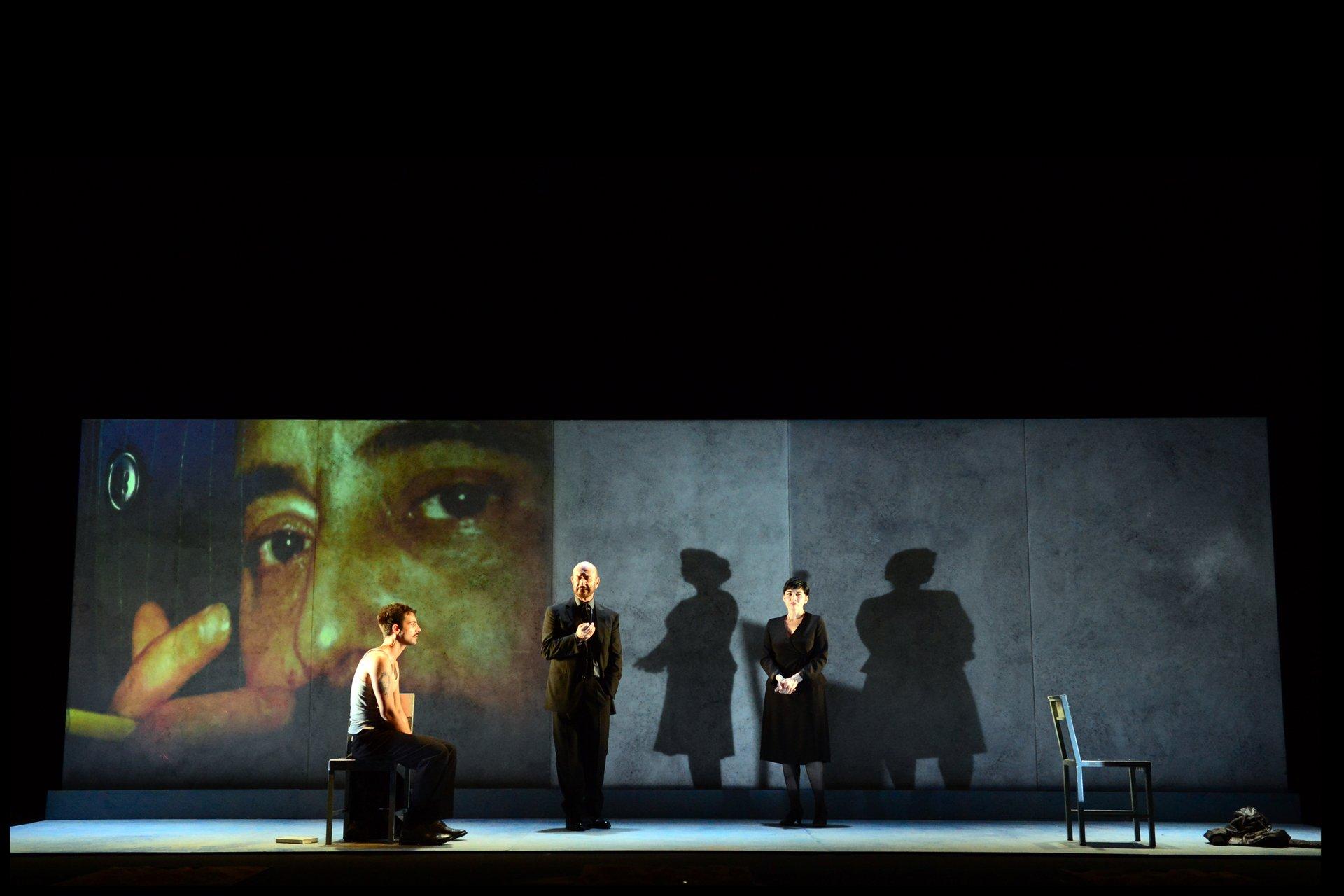 """SiciliaTeatro-CastellinAria. The play """"Dopo il Silenzio"""" di Pietro Grasso. The actors: Sebastiano Lo Monaco, Mariangela D'Abbraccio, Turi Moricca. Festival di Spoleto 2013 2020"""