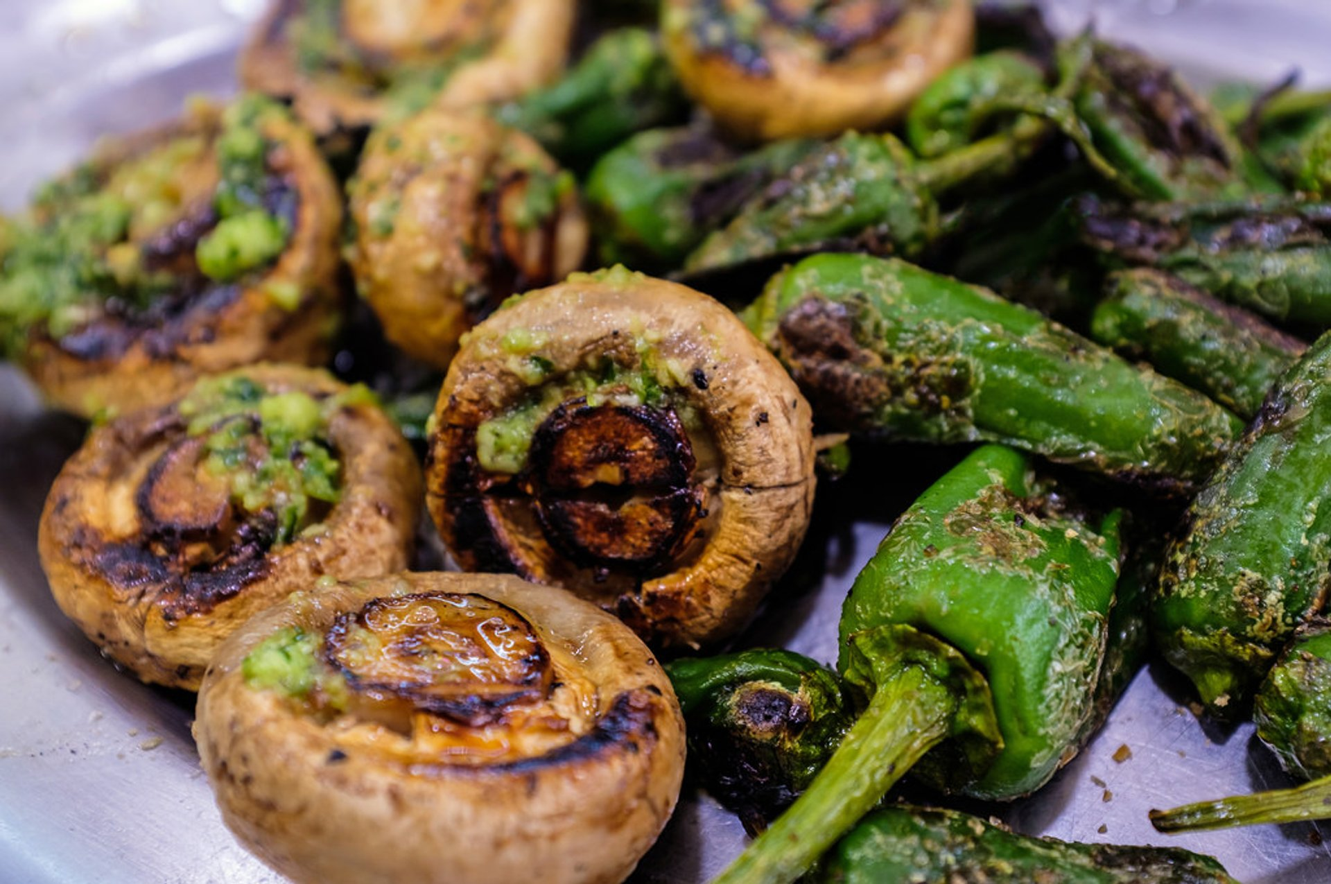 Grilled Mushrooms with Garlic and Padrón Pepper  2019