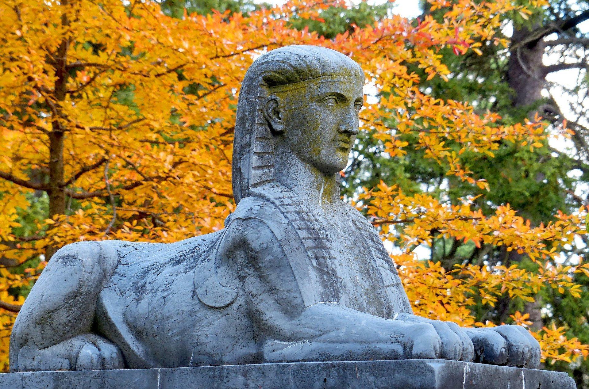 Sphinx gravestone in Spring Grove Cemetery 2020