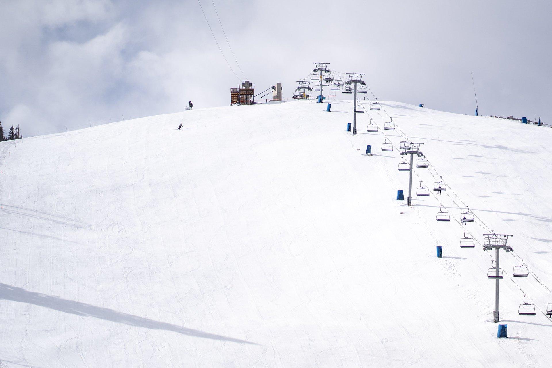 A lone skier makes their way down Captain Lite  2020