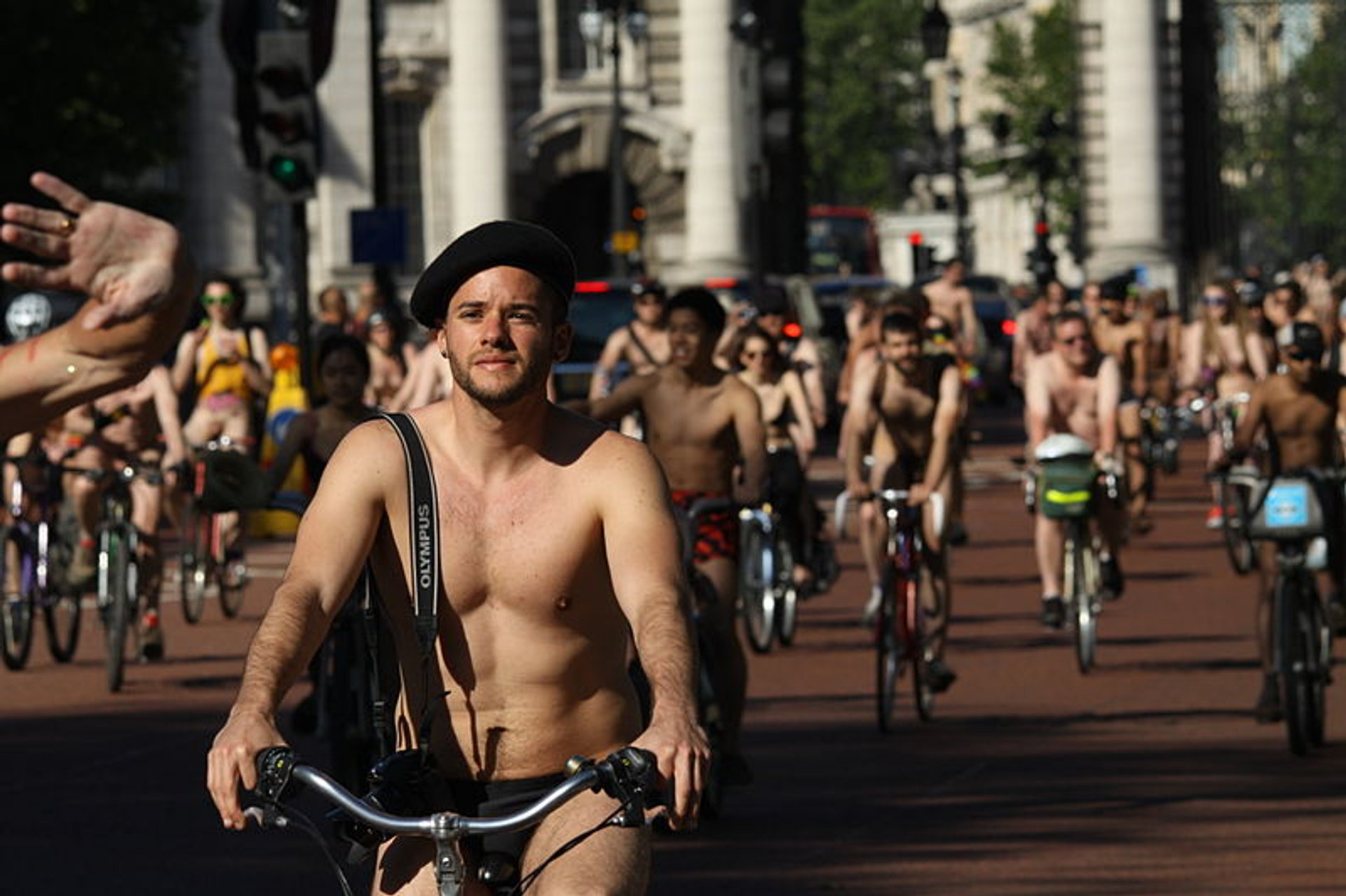 World Naked Bike Ride in London on The Mall street, London, England, Great Britain 2020