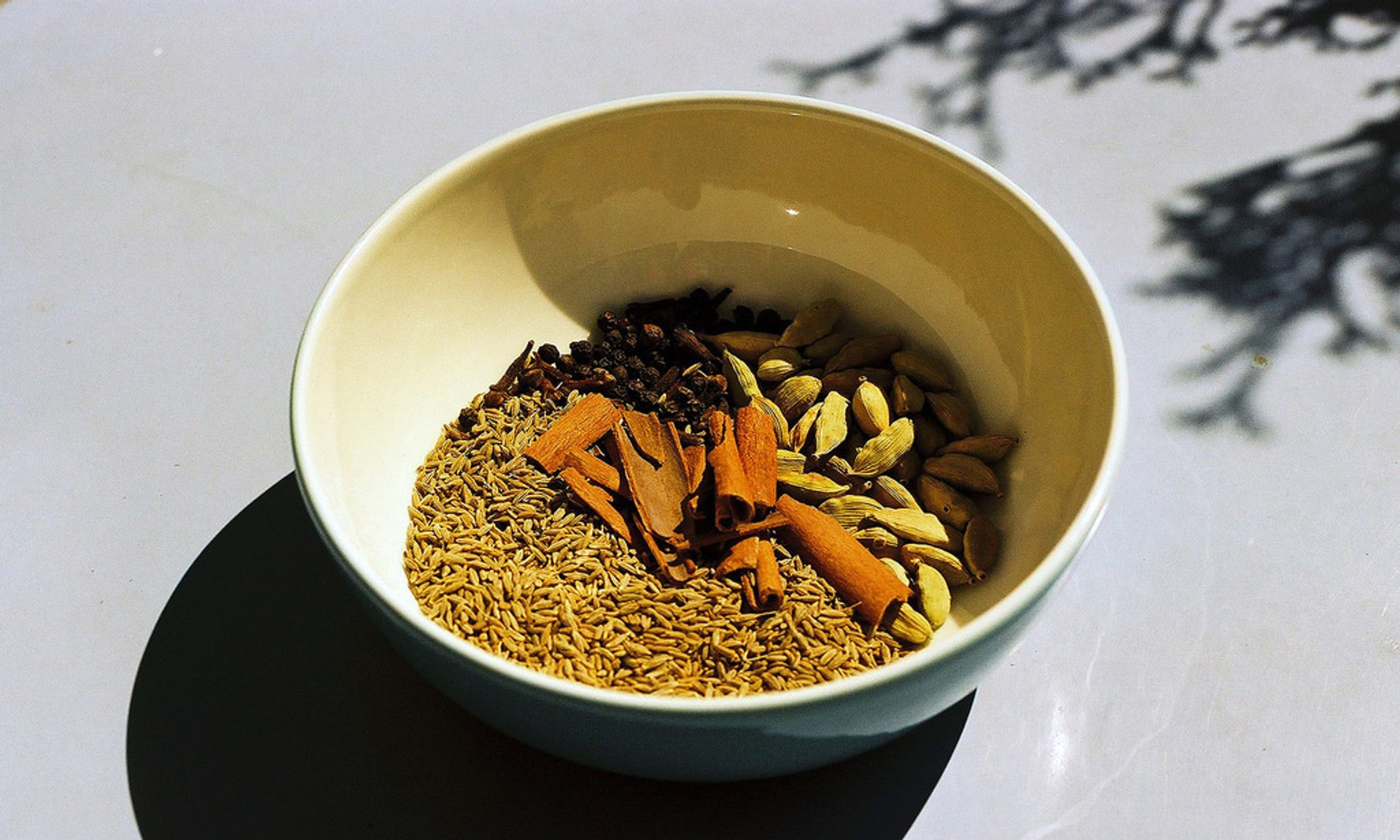 Cumin seeds, cloves, cardamom pods and cinnamon sticks—spices to be mixed with rice and cooked to make a traditional dish (Zanzibar Pilau) 2019