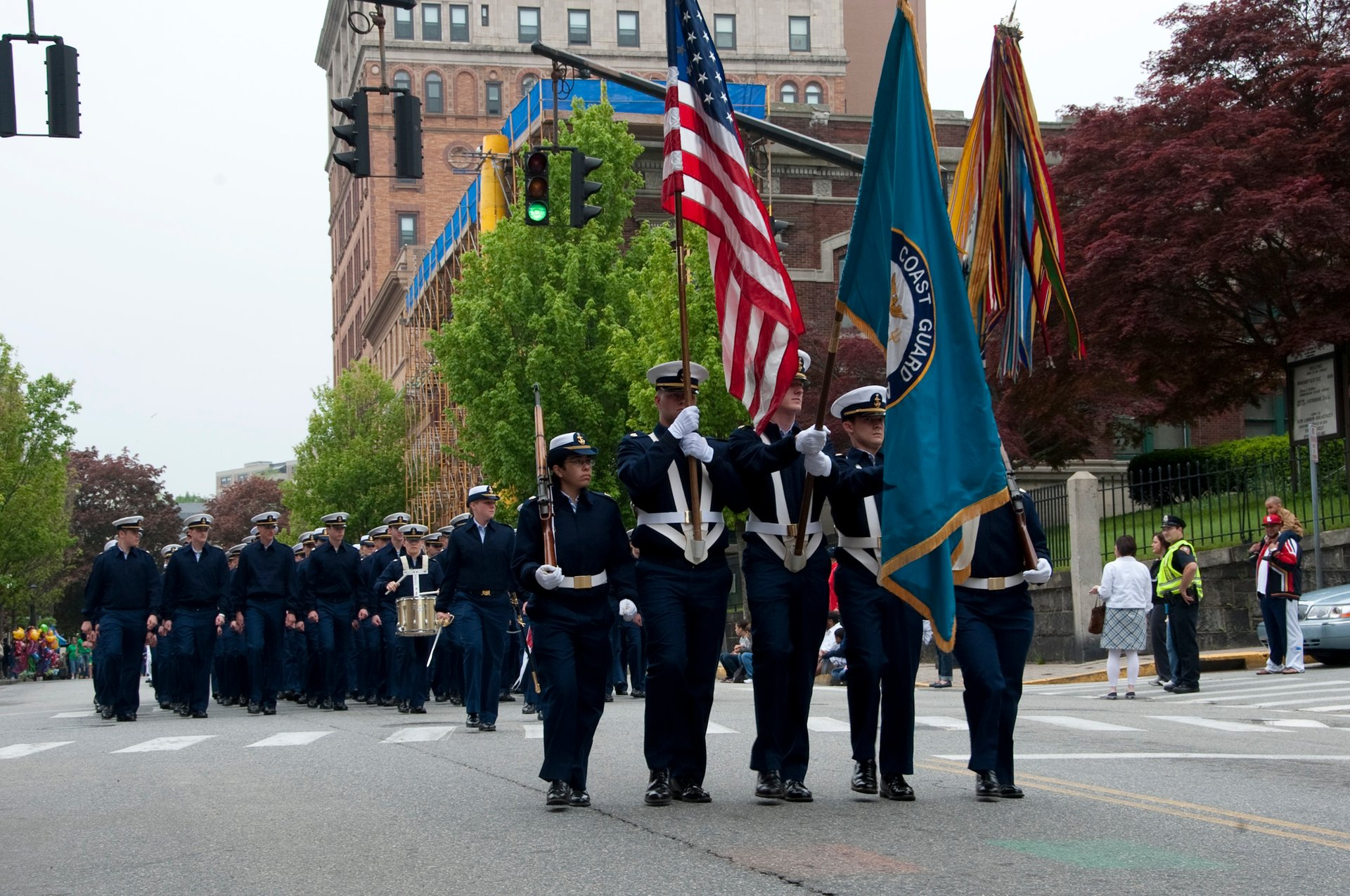 U.S. Coast Guard Academy cadets march in the New London Memorial Day and Hope Week Parade in New London 2020