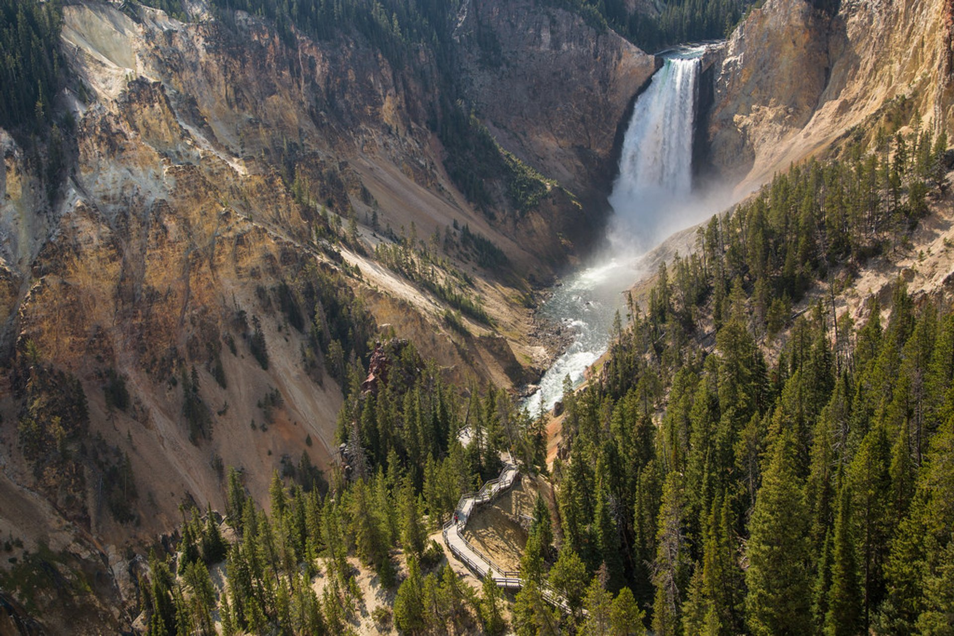 Three Waterfalls of the Grand Canyon of Yellowstone and Uncle Tom's Trail in Yellowstone National Park 2019 - Best Time