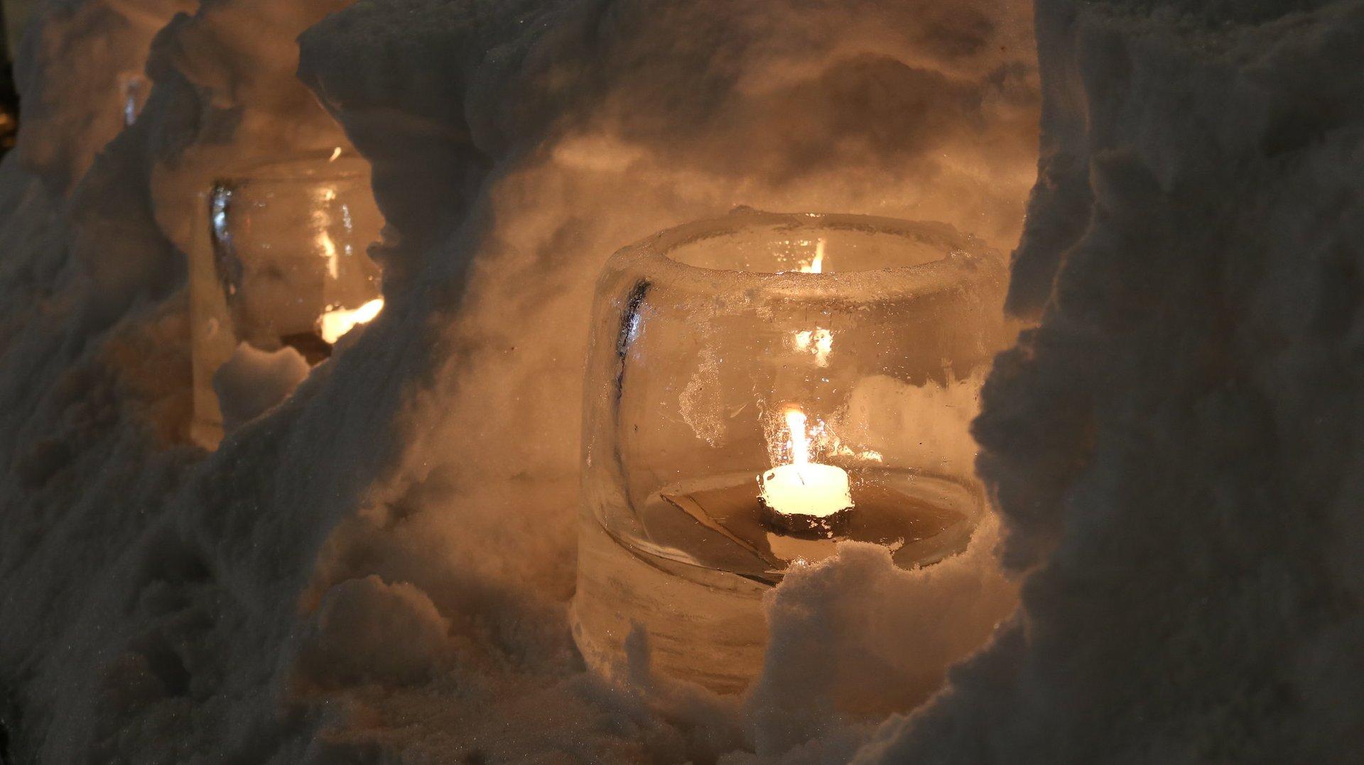 Ice candleholder at Snow Light Path Festival  2020