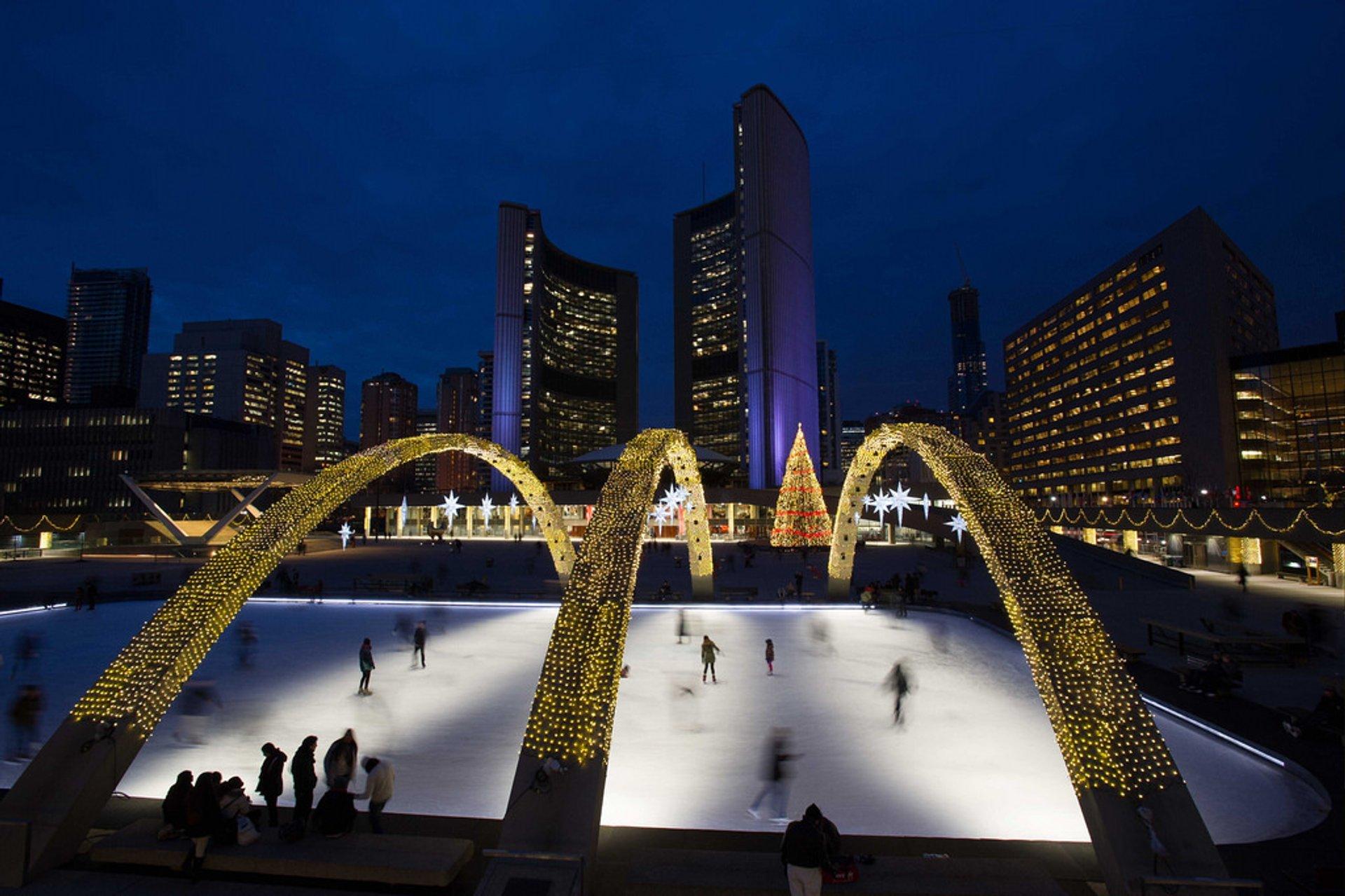 Nathan Phillips Square skating rink at night 2020