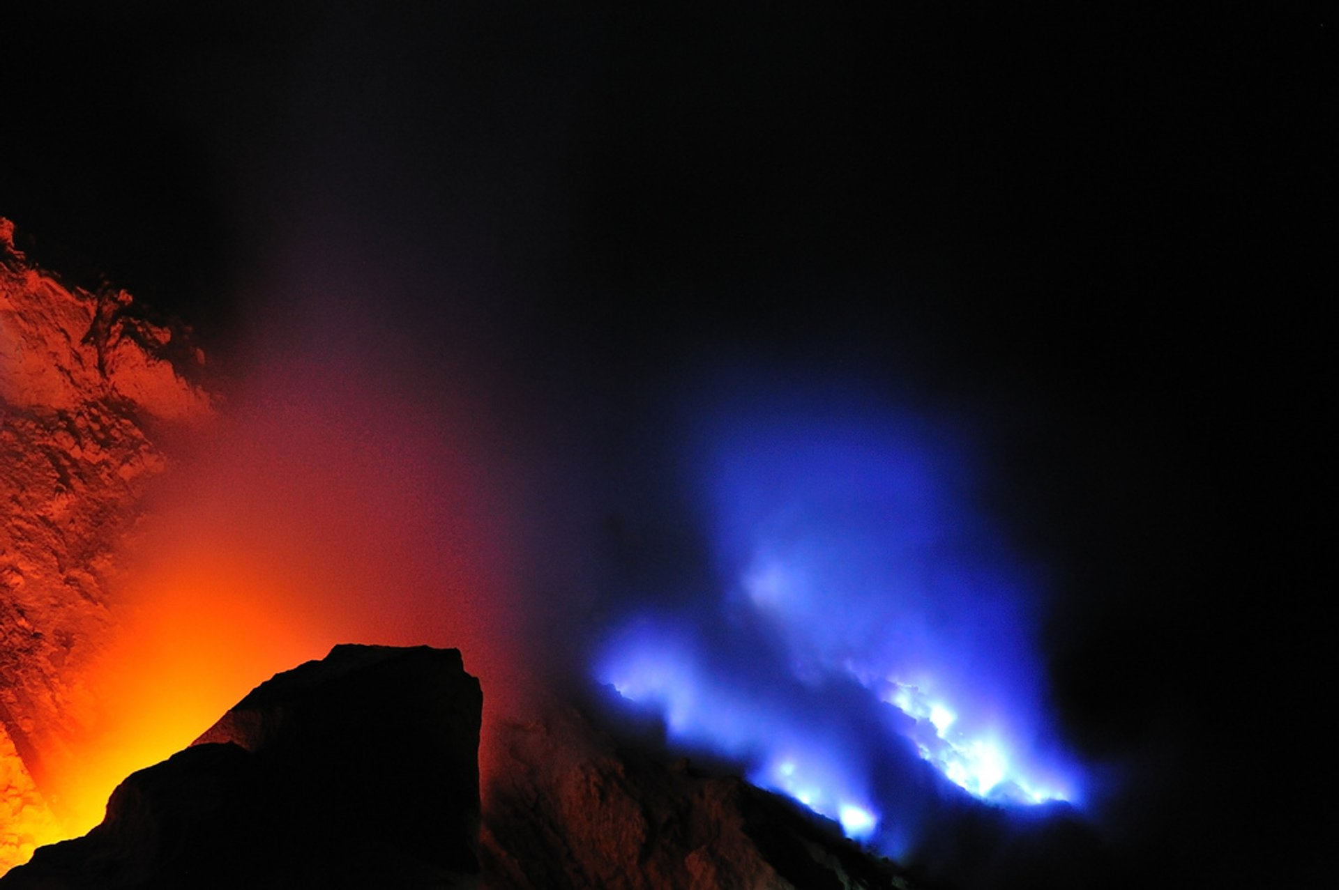 Ijen crater blue flame 2020