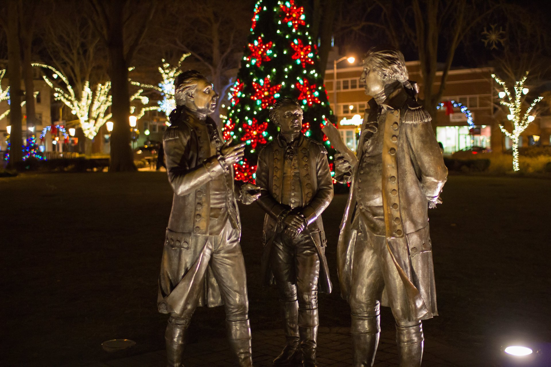Morristown Green Christmas Lights and statues on the Green 2020