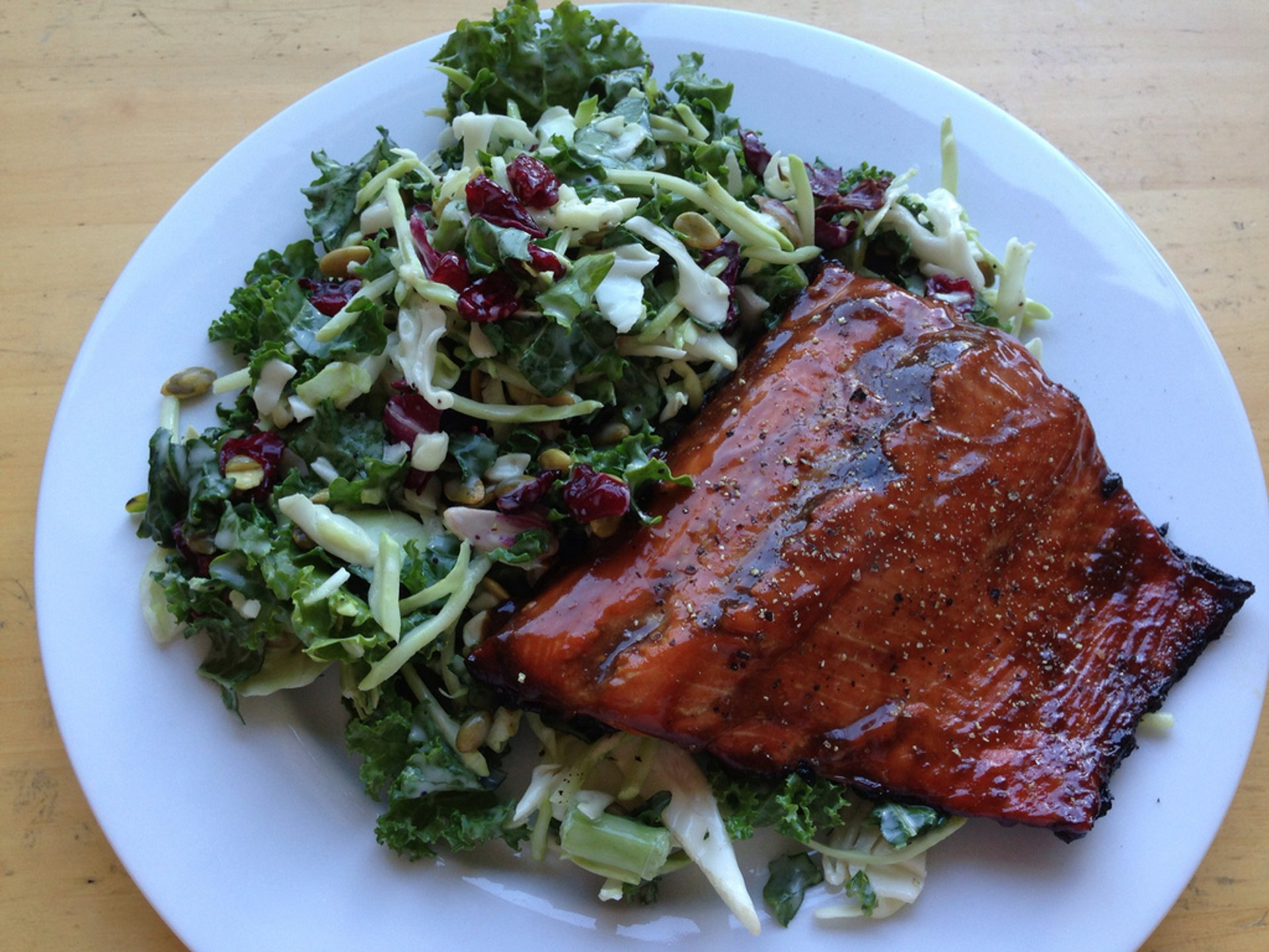 Grilled teriyaki glazed wild sockeye salmon fillet with a sweet kale salad kit salad 2020