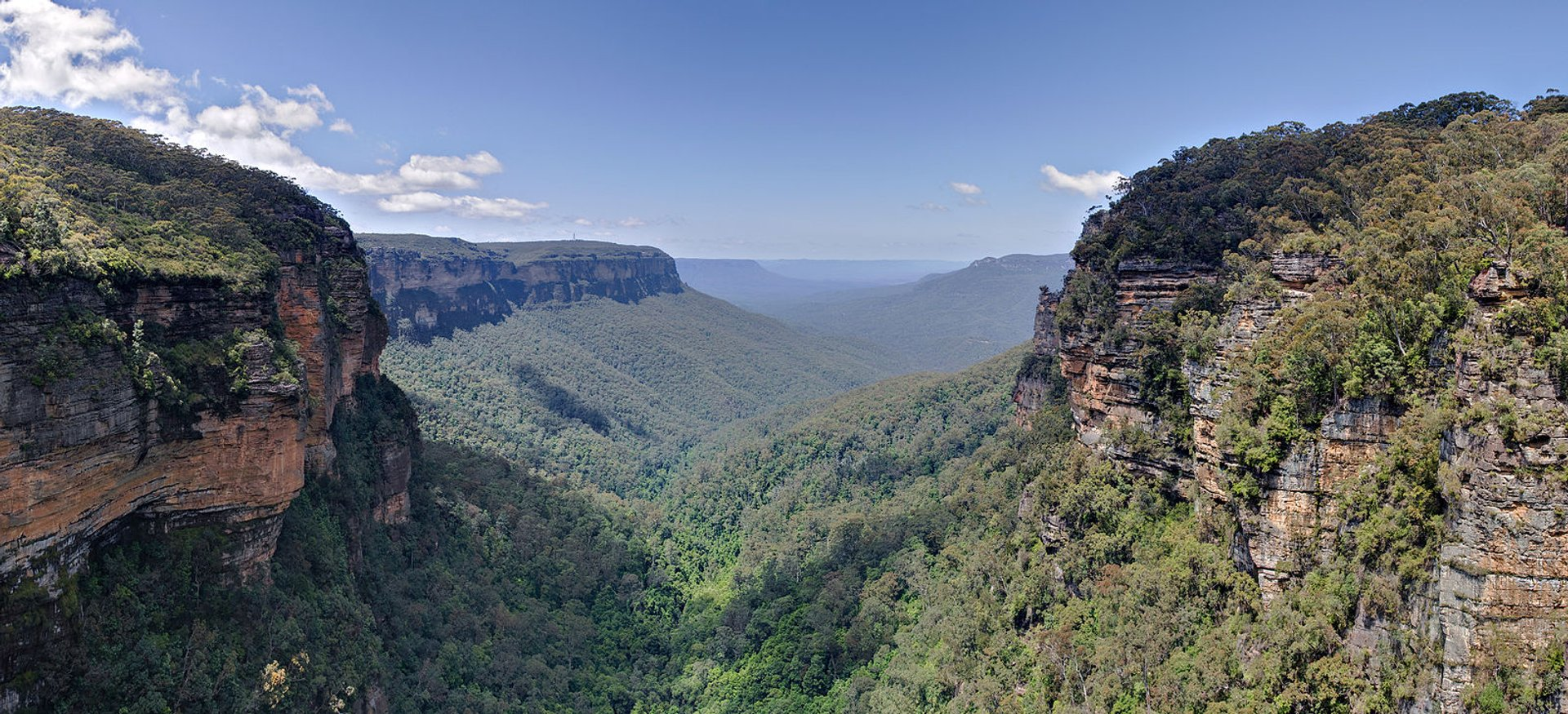 A panoramic view of the Jamison Valley in the Blue Mountains, New South Wales, Australia 2019