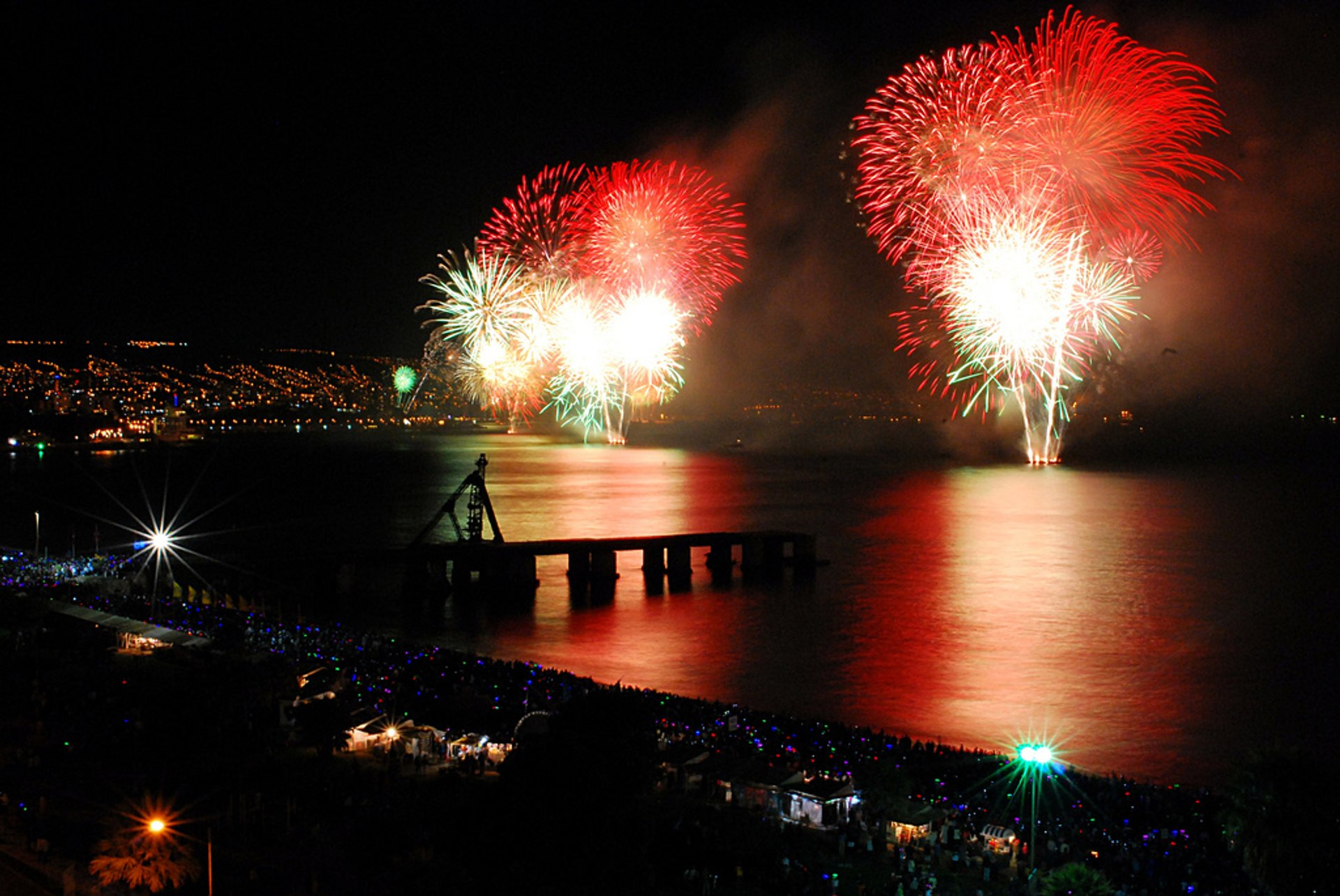 Best time for New Year Fireworks in Valparaiso in Chile