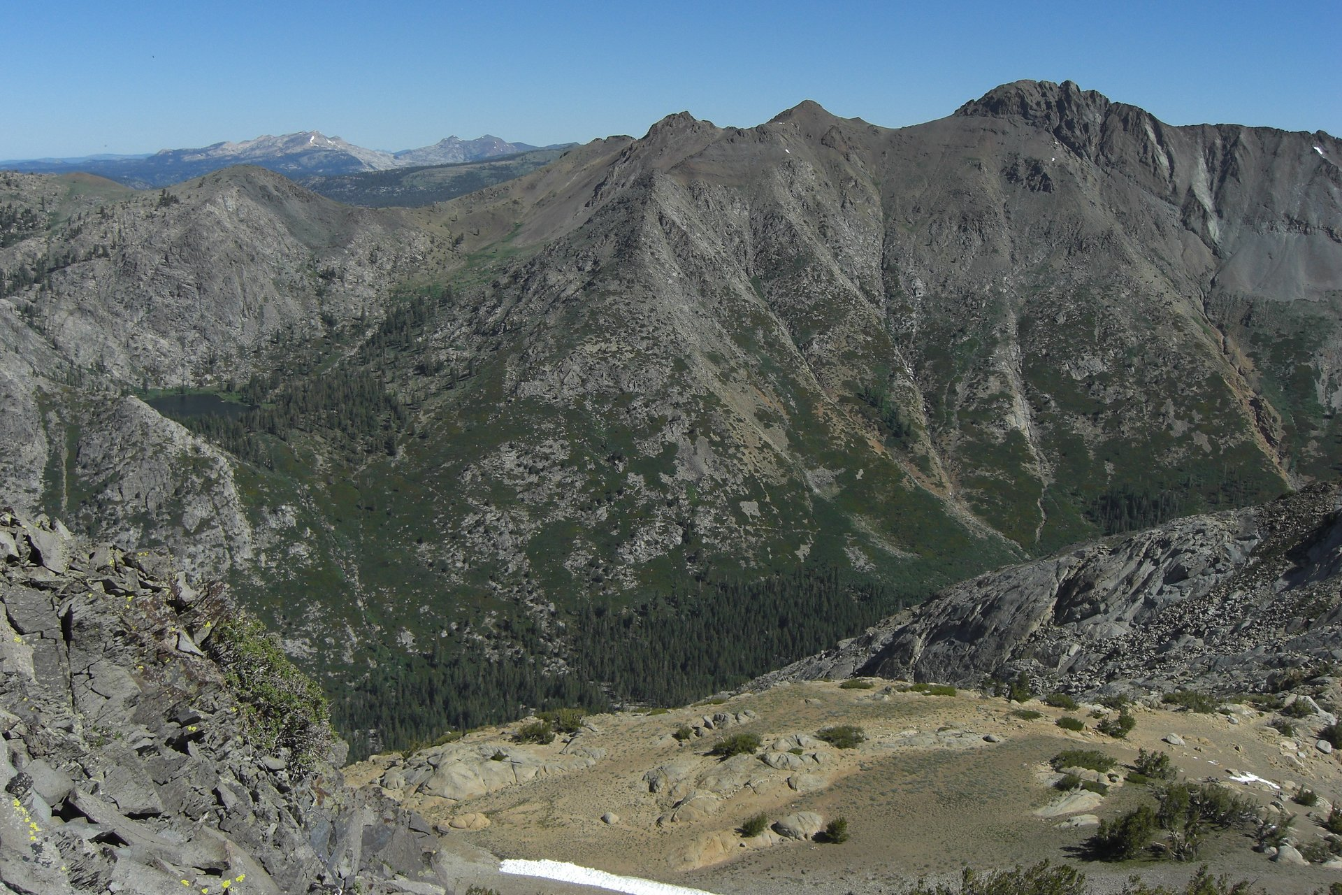 View of Fourth of July Lake from Deadwood Peak 2020