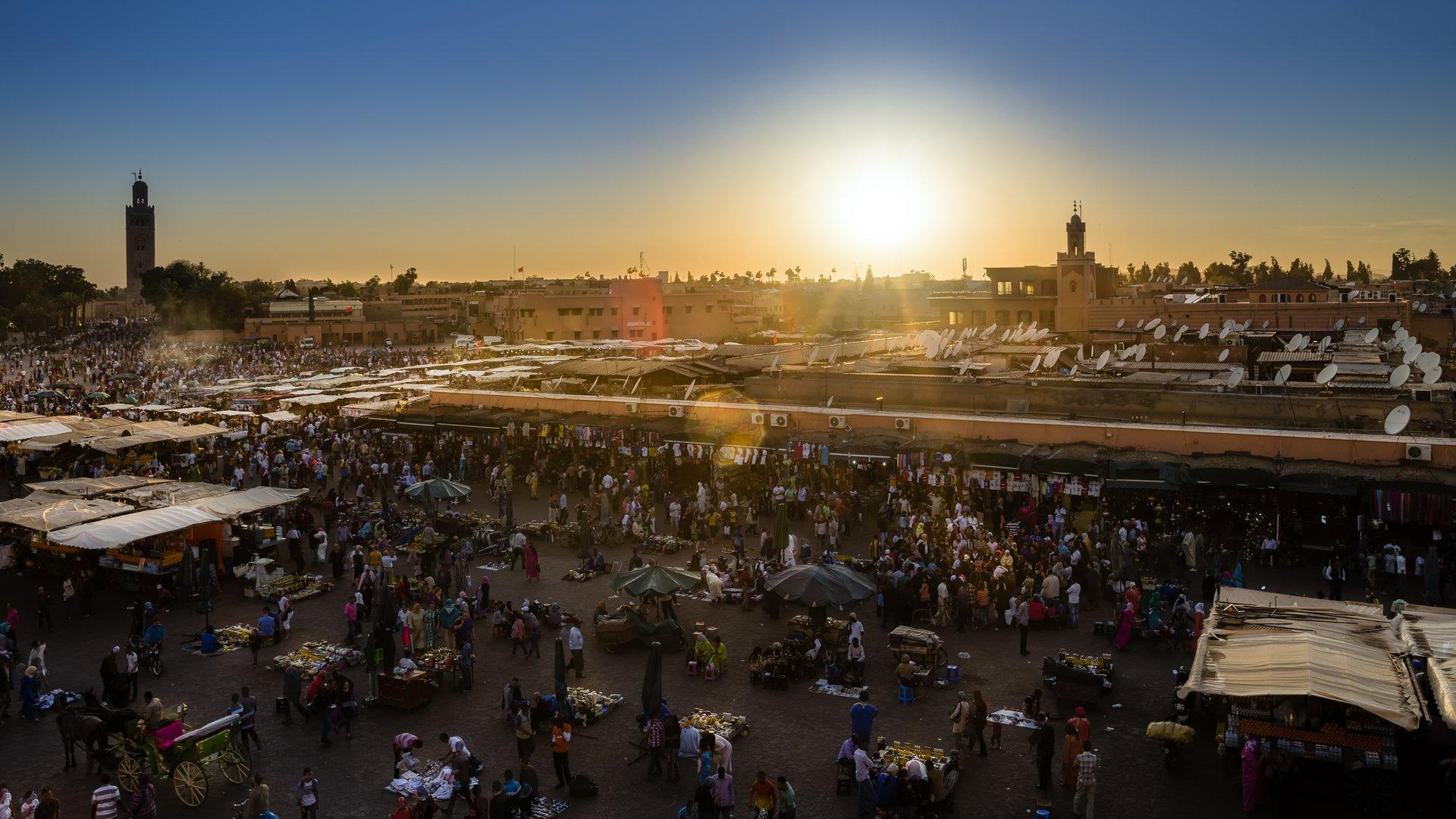 Sunset above Djema el-Fna in Marrakesh 2020