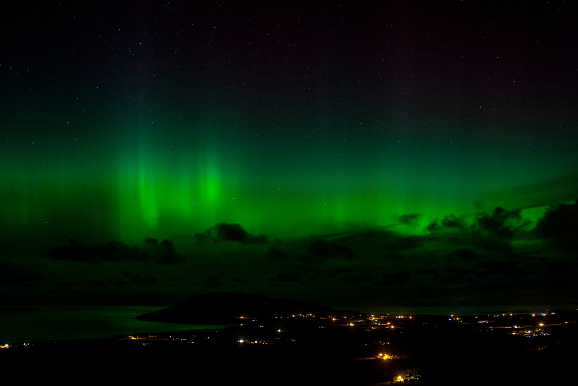 Fading away northern lights over Urris valley to the west of the parish of Clonmany, Co Donegal, Ireland 2020