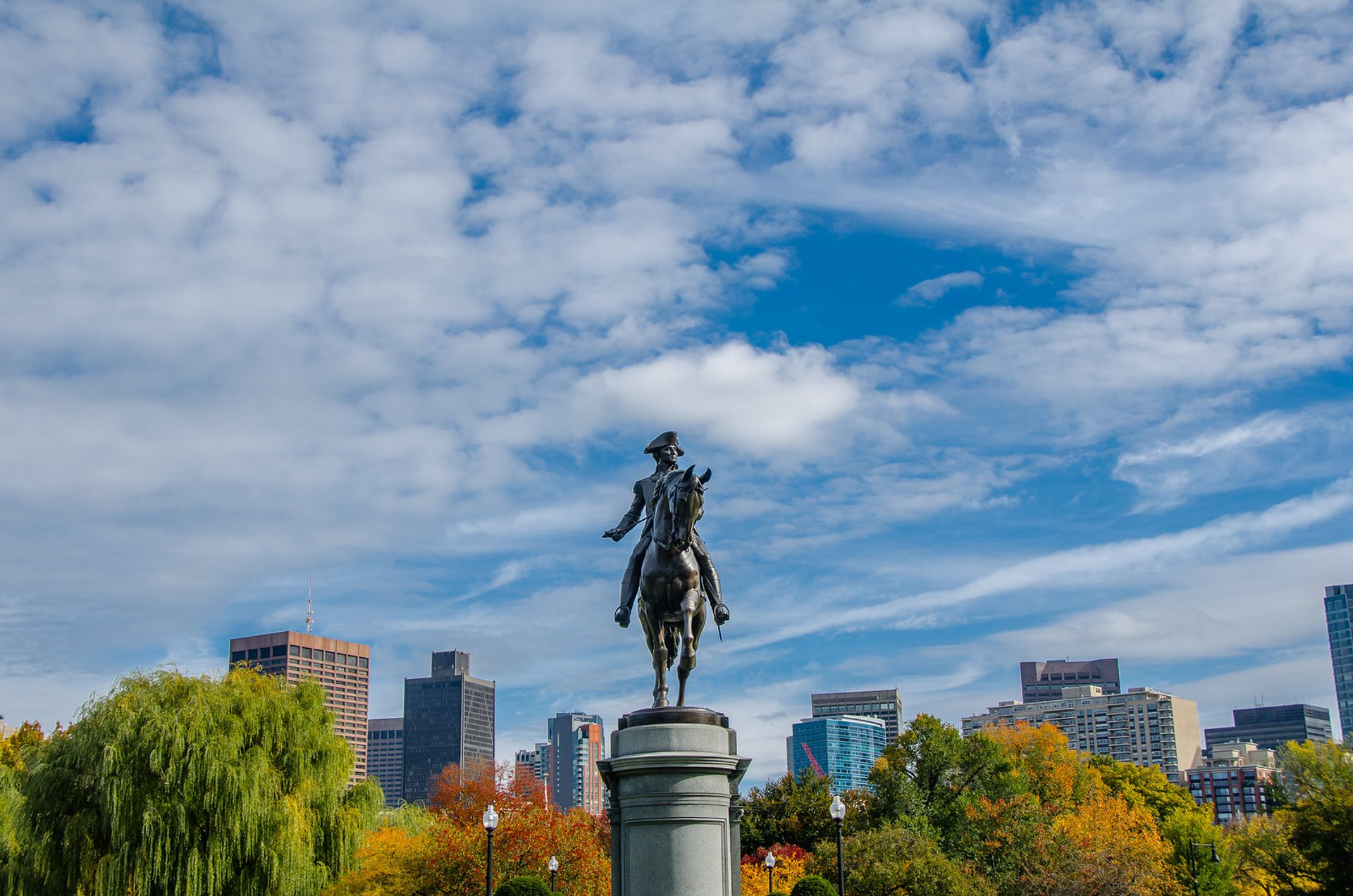 George Washington standing tall on a fall day in the Public Garden, Boston 2020