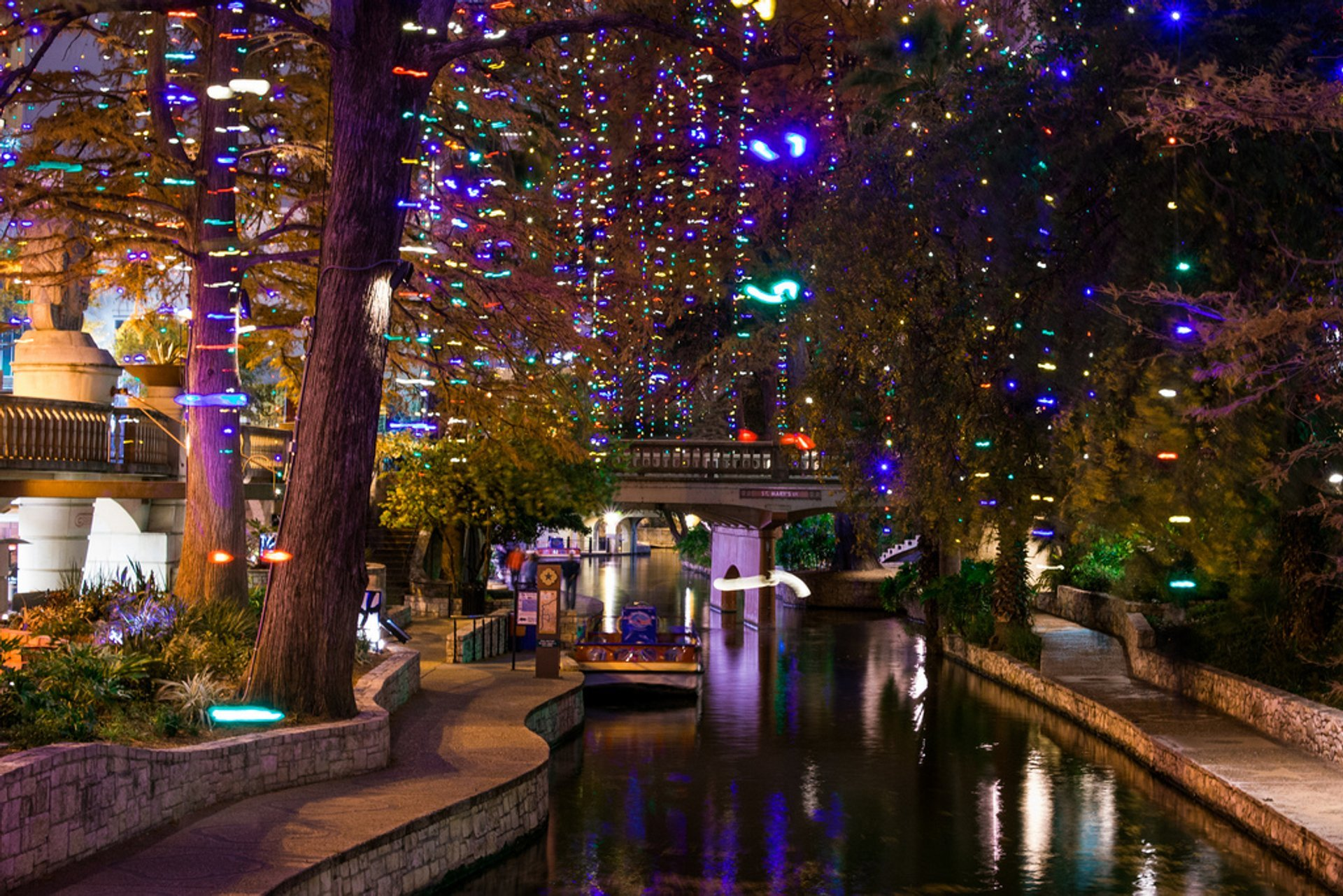 Christmas lights on San Antonio Riverwalk near St Mary's Street Bridge 2020