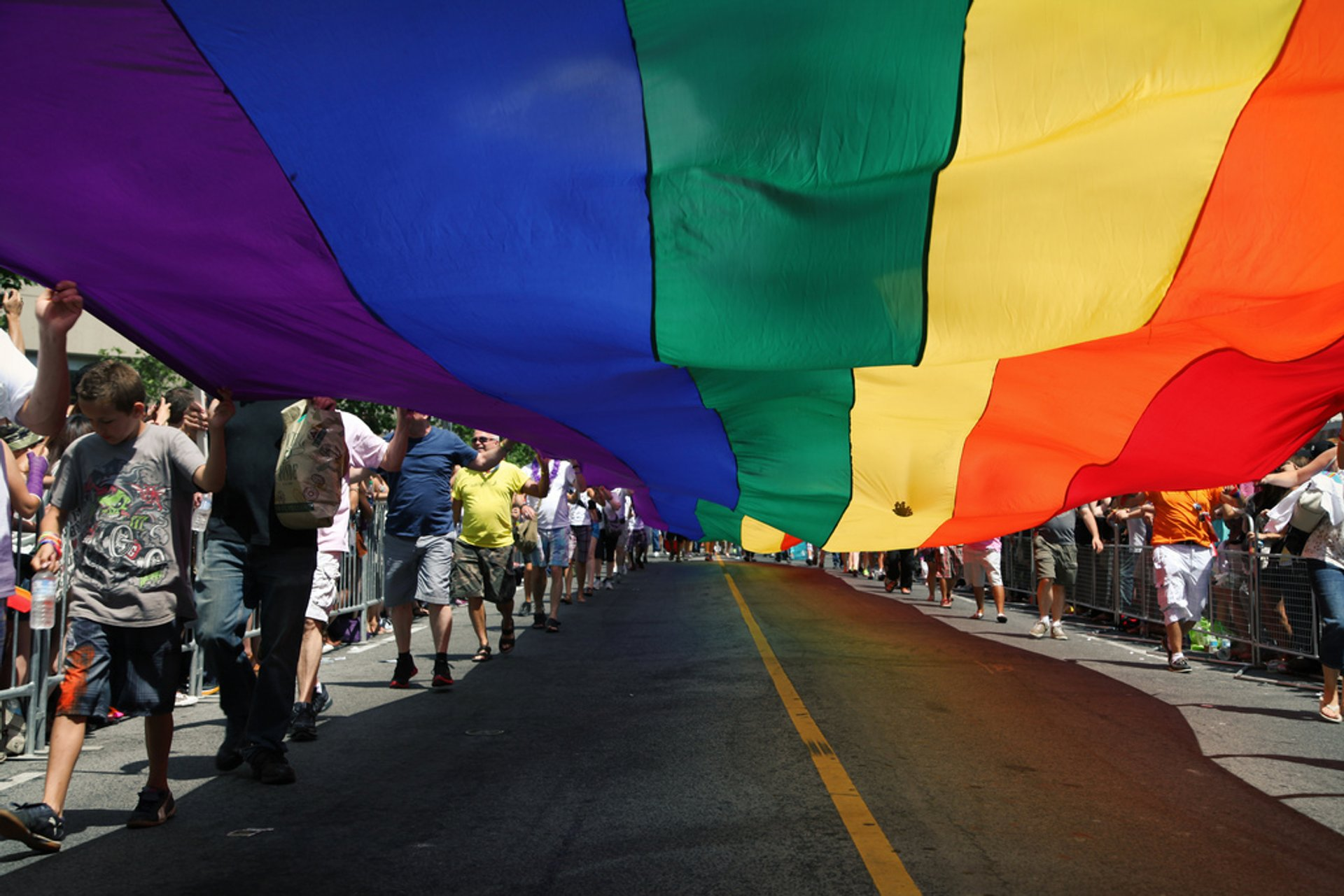 Rainbow flag at Toronto's Pride Parade on Canada Day 2019