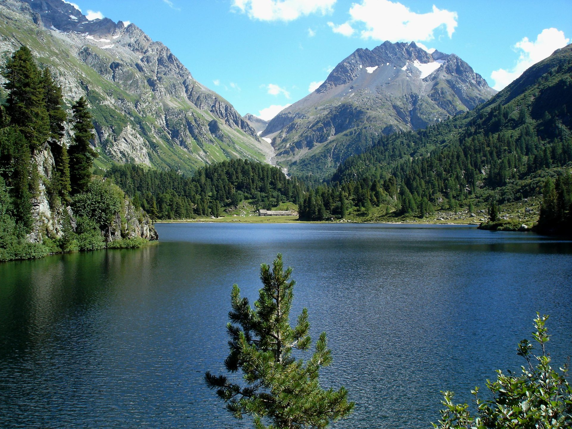 Lägh da Cavloc (Lake Cavloc), near Maloja in Graubünden, Switzerland. View on Monte Forno 2019