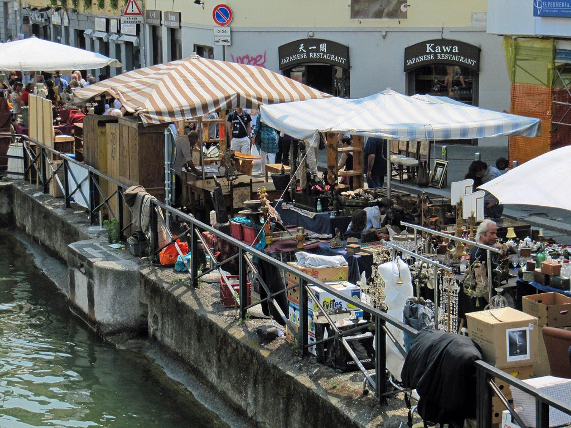 Naviglio flea market, Milan, Italy (Mercatone dell'Antiquariato sul Naviglio Grande) 2019
