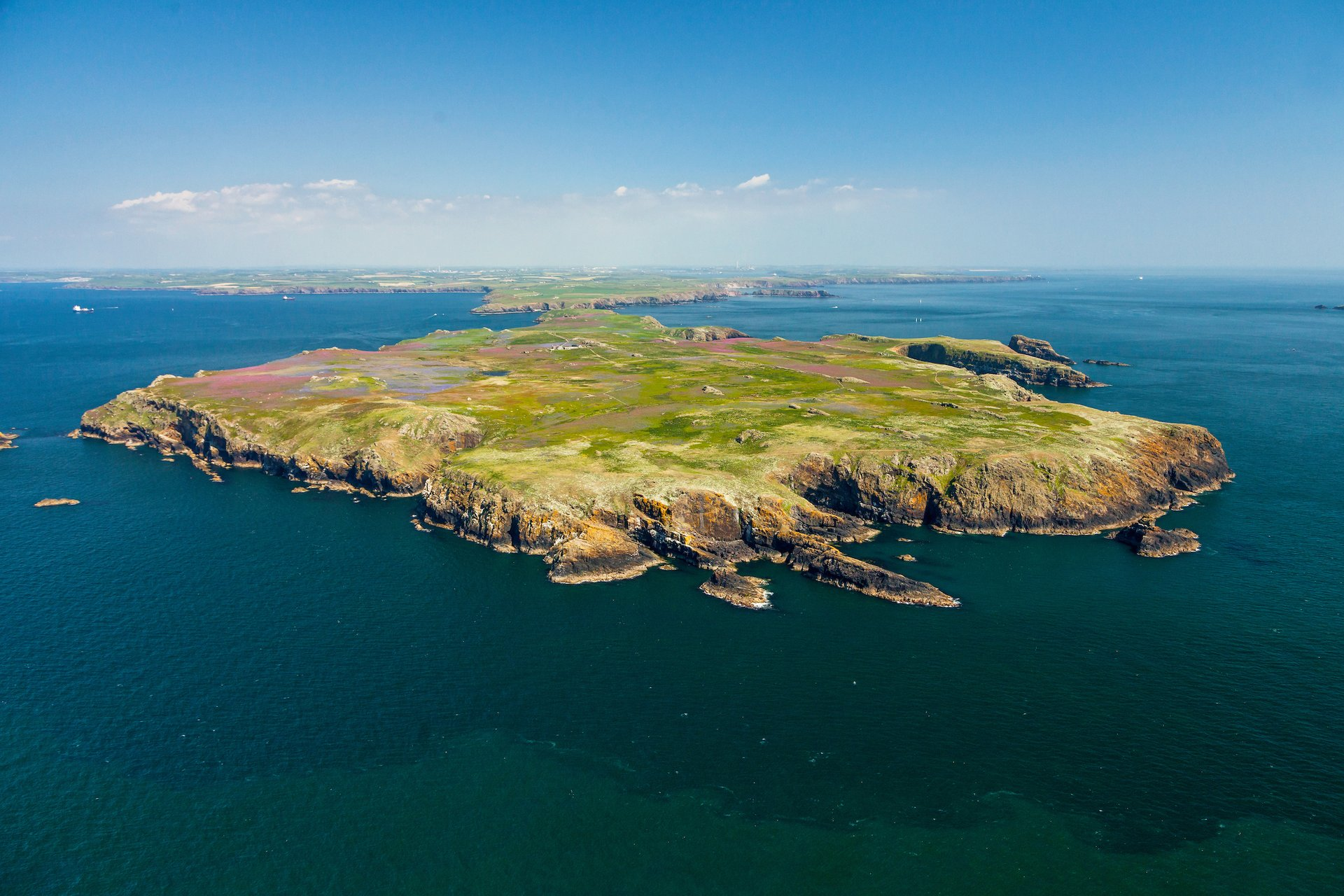 Aerial view of Skomer Island 2020