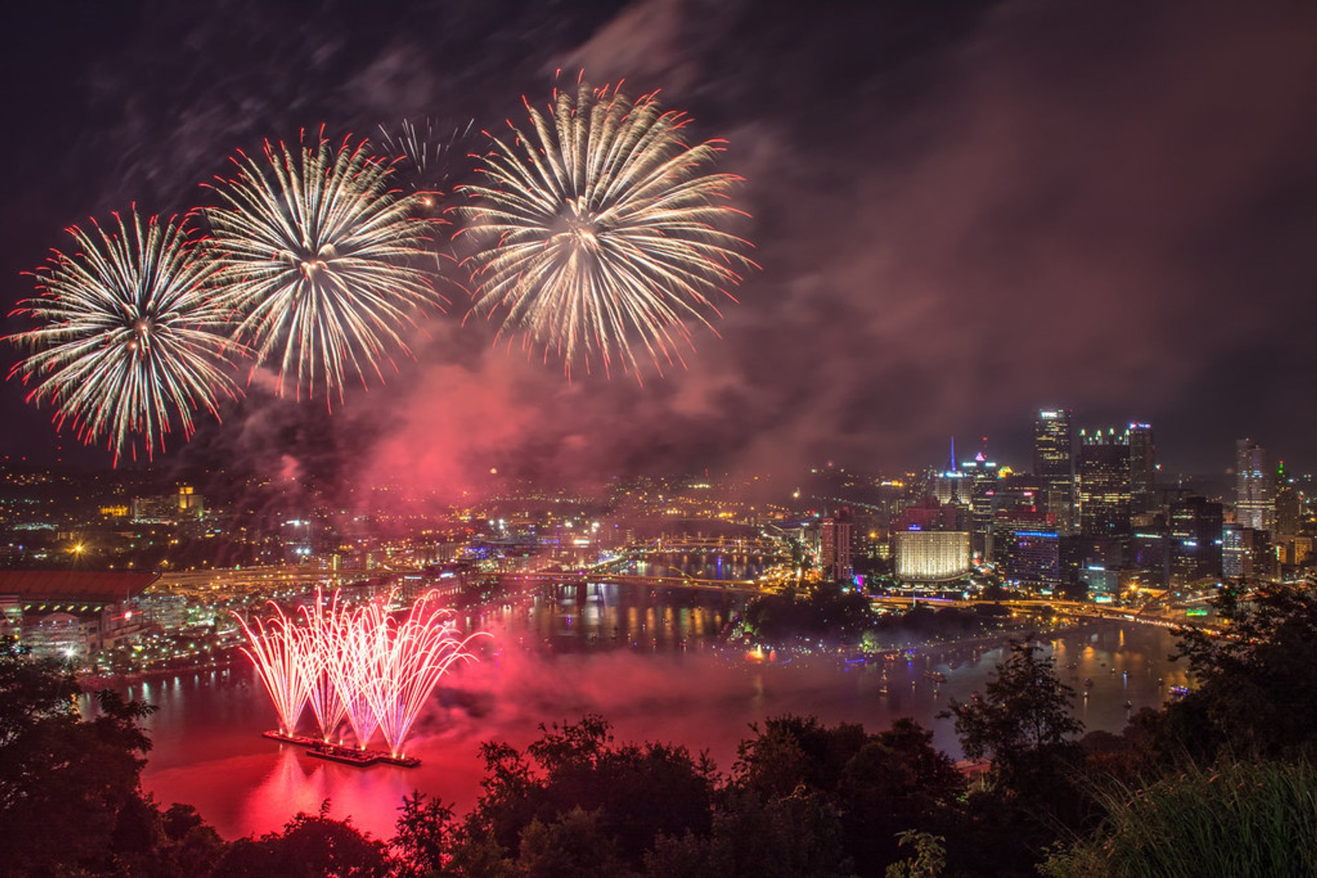 Fireworks above the city of Pittsburgh on July 4th 2020
