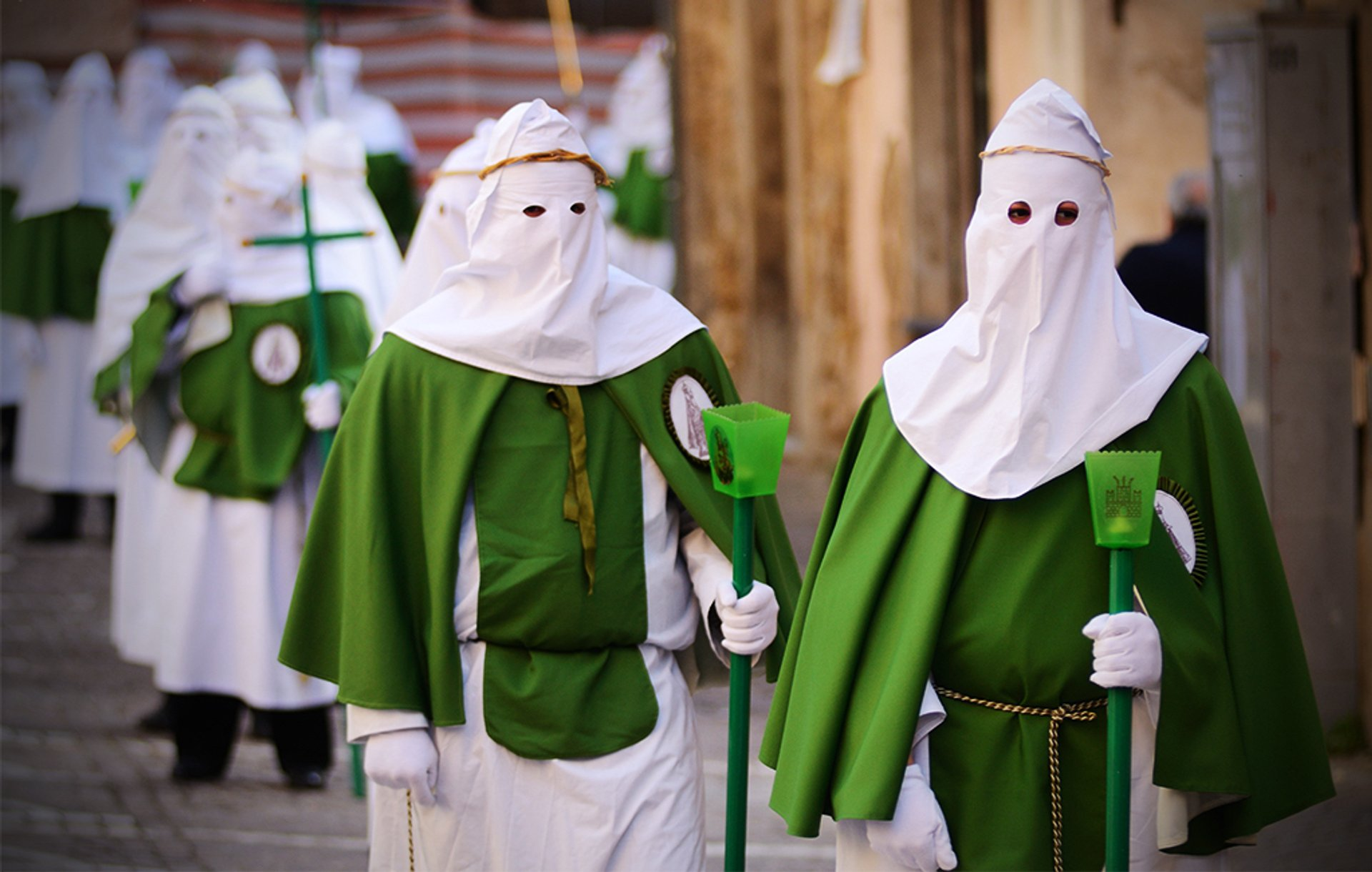 Gli incappucciati, Mysteries Procession on Good Friday, Enna, Sicily 2020