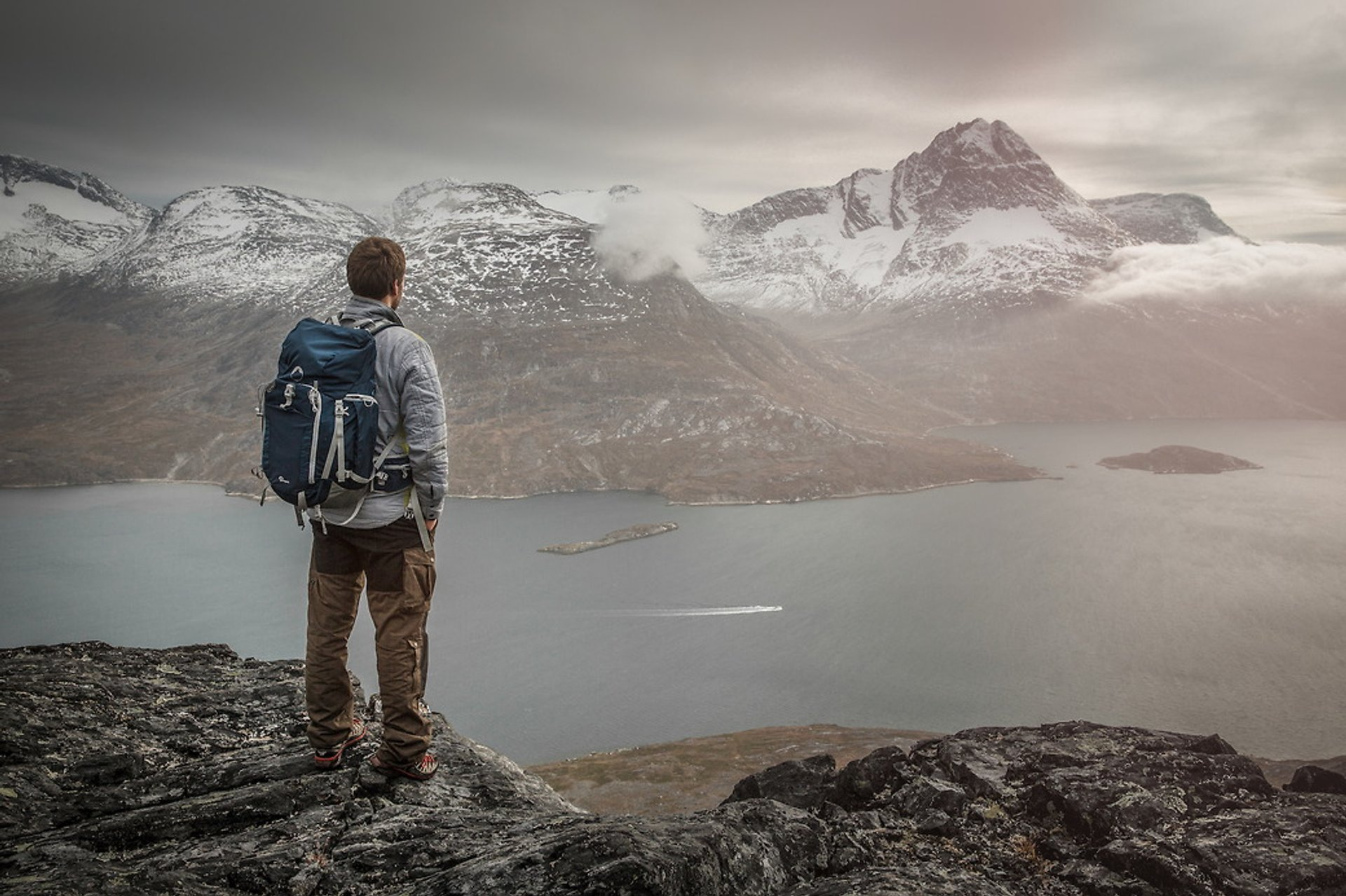 A hiker overlooking Kobberfjorden near Nuuk 2019