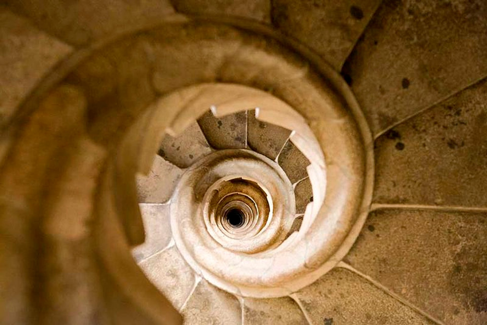 A spiral staircase inside one of the towers