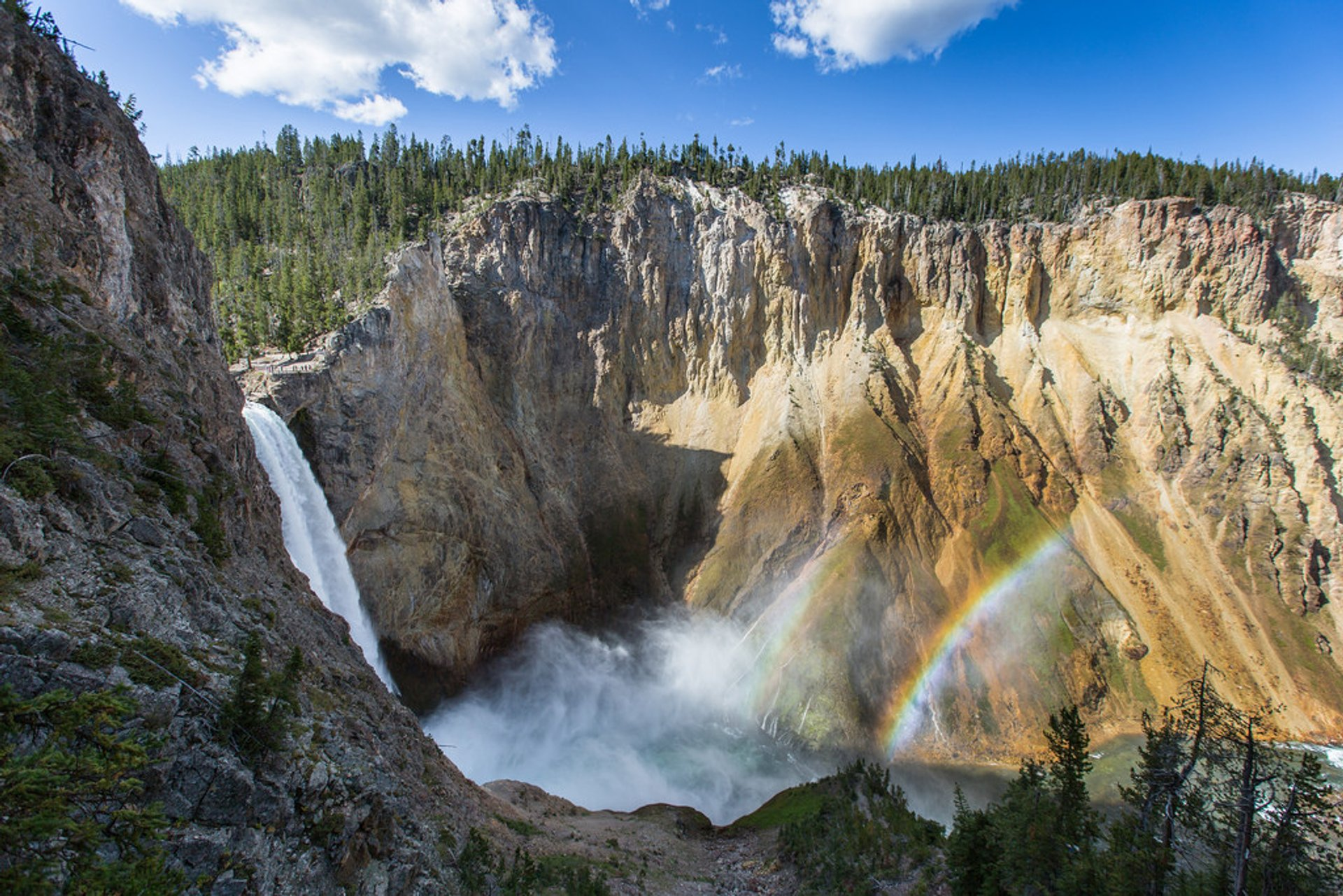 Double rainbow at the Lower Falls of the Yellowstone River 2020