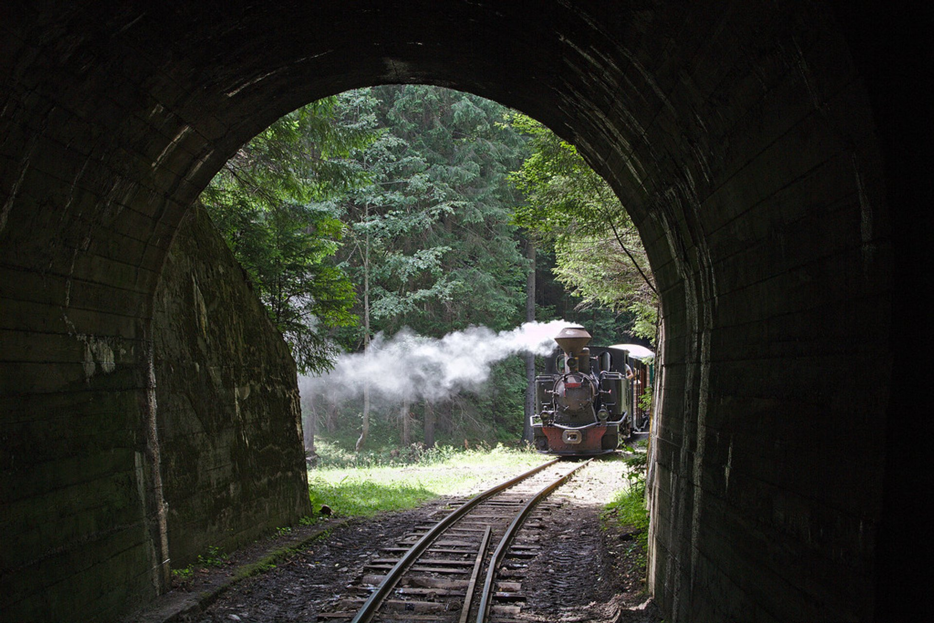 Before entering the third of three tunnels along the Vaser valley railway, near Botizu loading site 2020