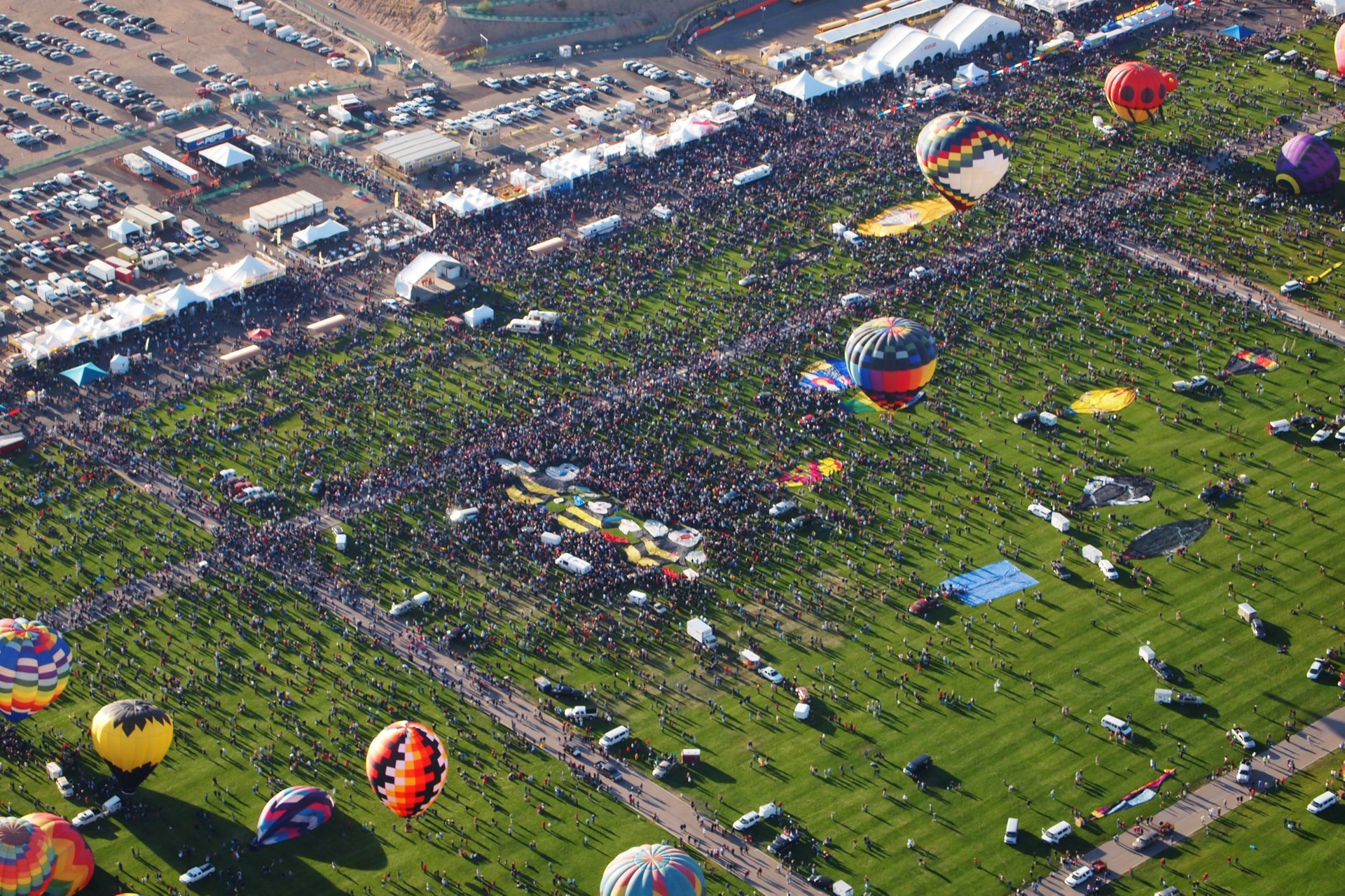 View of the balloon field from The Madhatter hot air balloon for the Albuquerque International Balloon Fiesta  2020
