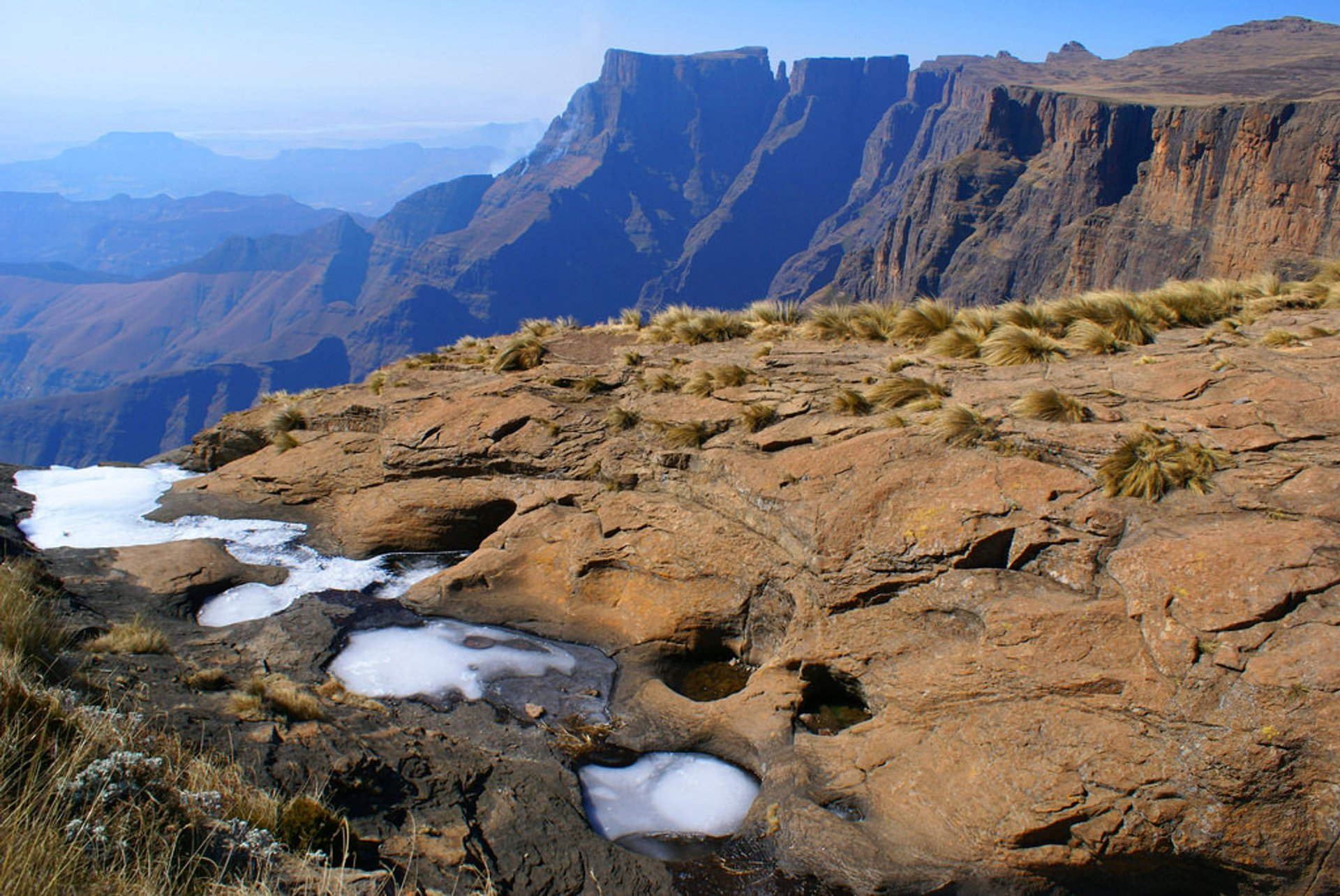 Upper part of the Drakensberg waterfalls, frozen in winter 2019