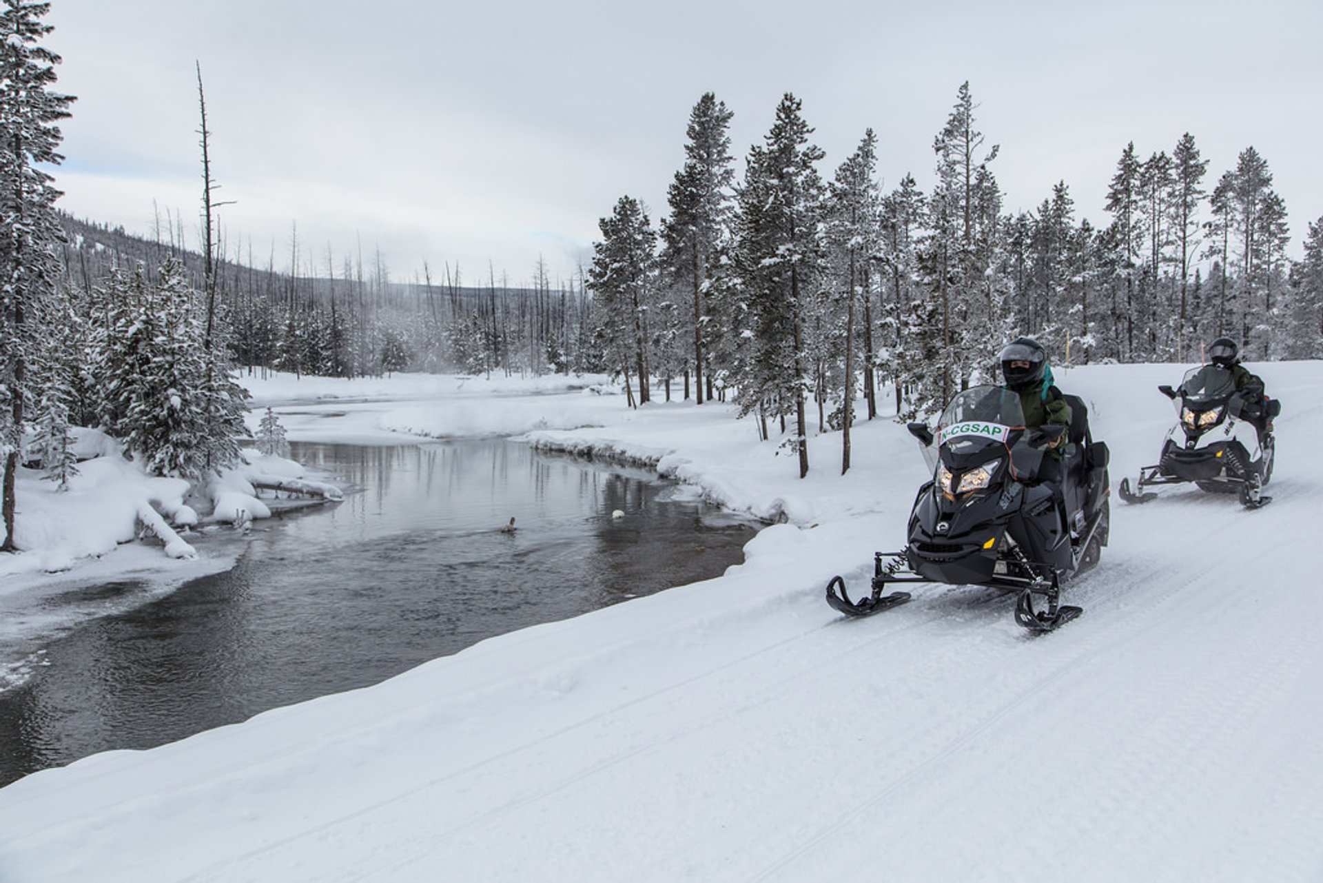 Snowmobilers near Gibbon RIver 2020
