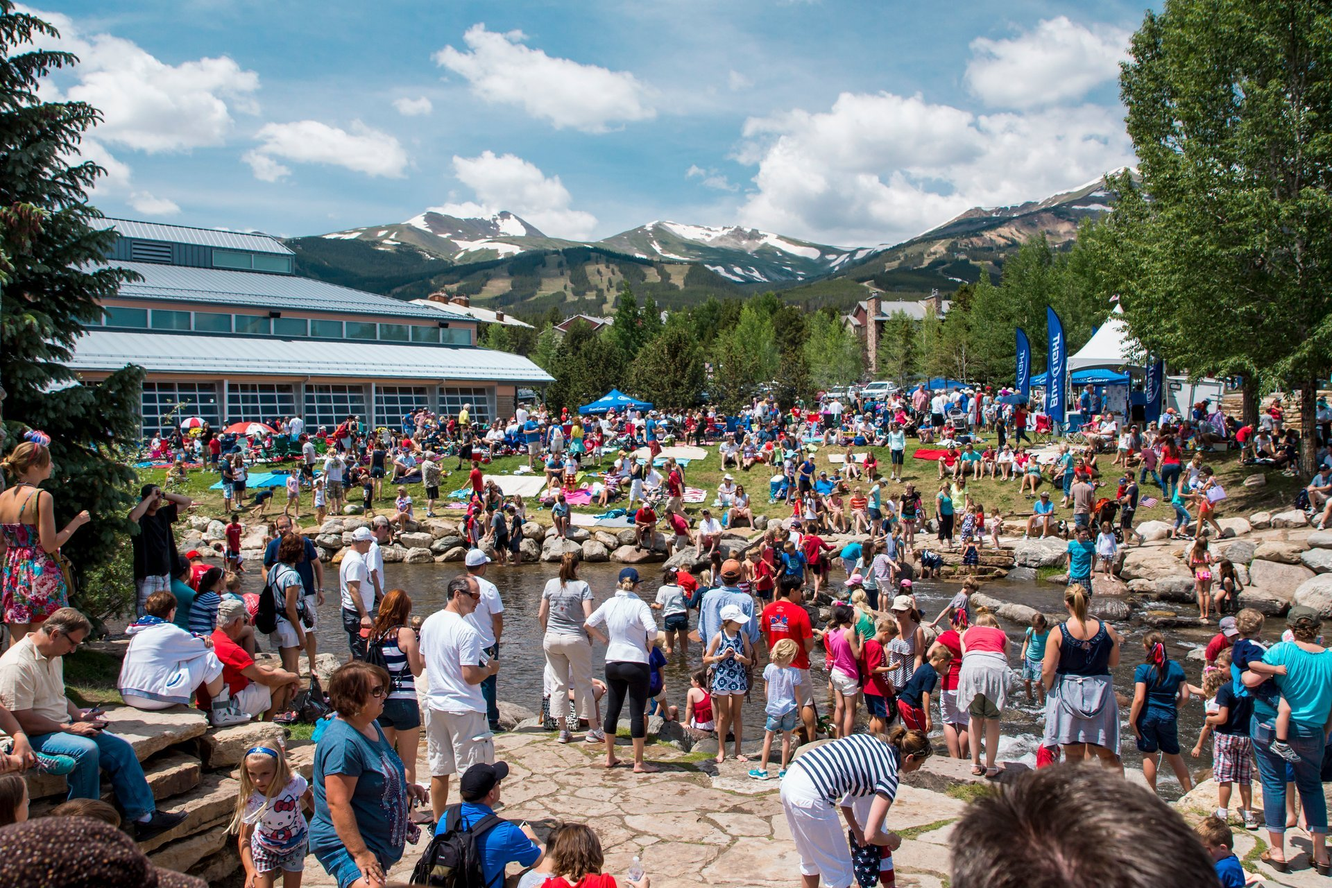 People congregated along the Blue River in the heart of Downtown Breckenridge 2020