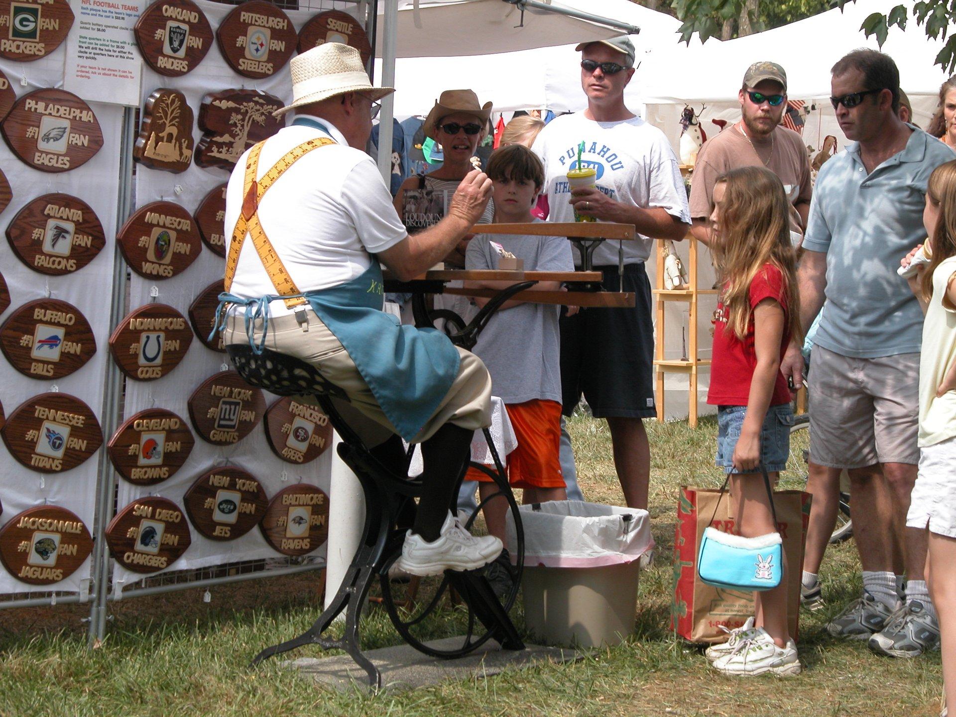 Pedal-powered scrollsaw artisan explains his craft, Bluemont Fair 2020