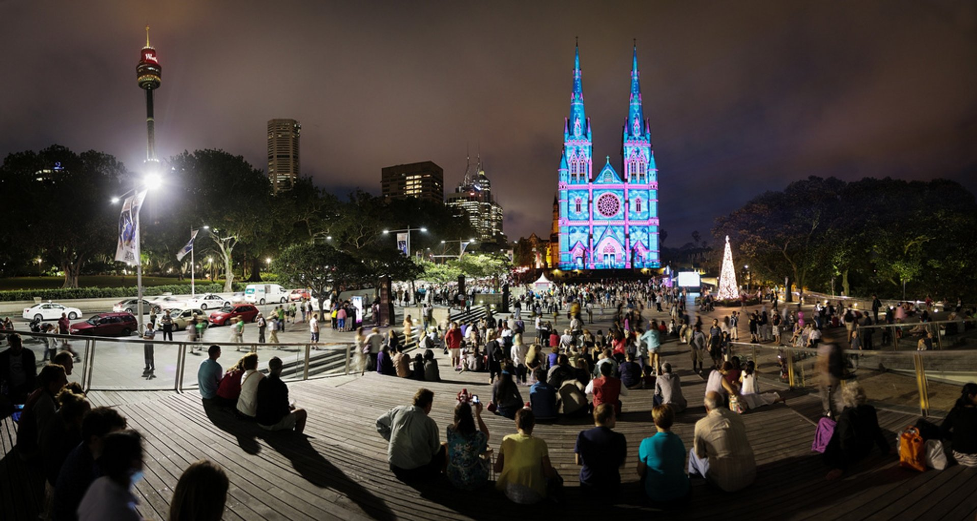 Christmas lightshow at St Mary's Cathedral