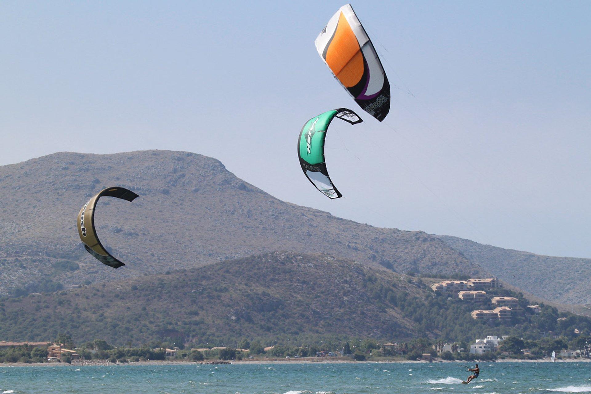 Kitesurfers at Pollença Bay 2020