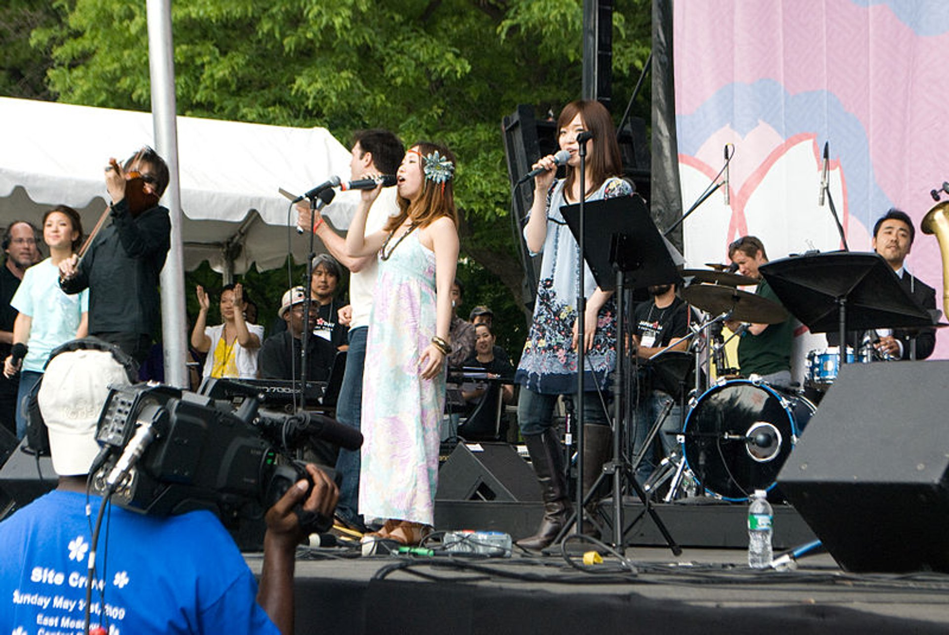 Ai Kawashima (center right) and Tomoko Nagashima (center left) of orange pekoe live at Japan Day in Central Park, New York City 2020
