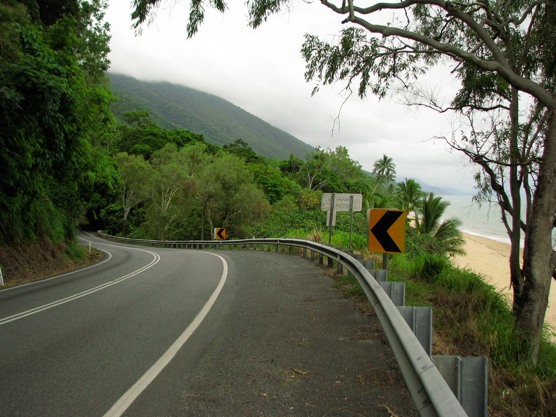 Captain Cook Highway at Ellis Beach where you see both the long strip of Ellis Beach with coconut palms, and the cloud-brushed Great Escarpment / Macalister Range 2020